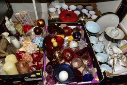 FOUR BOXES OF CERAMICS, GLASSWARES, SUNDRY ITEMS, ETC, to include four Denby everyday bowls, six