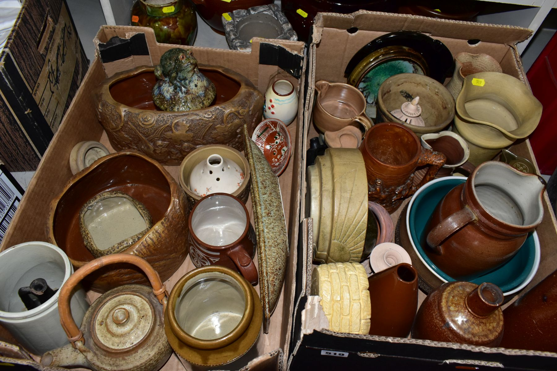 TWO BOXES AND LOOSE STONEWARE etc, including Hillstonia, Studio pottery, stoneware jugs and flagons,