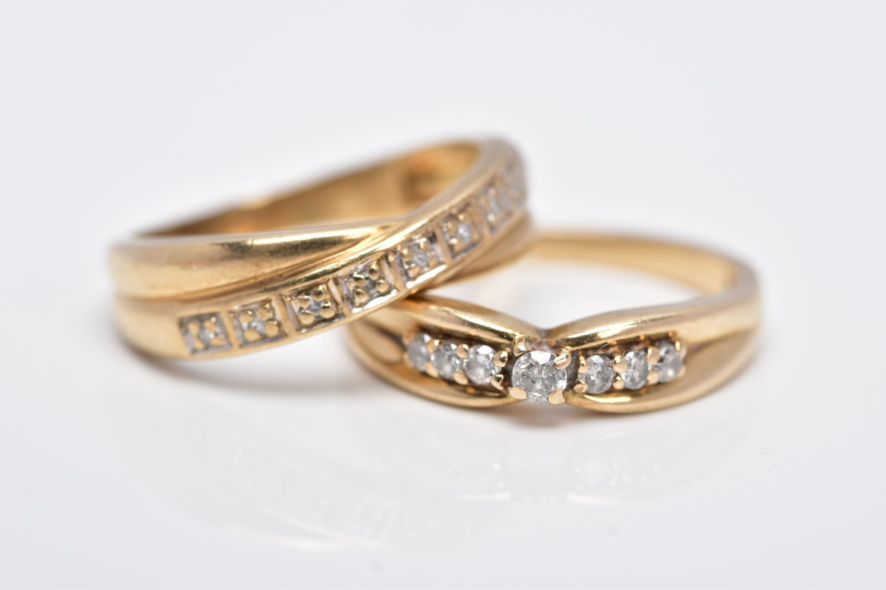 TWO 9CT GOLD DIAMOND RINGS, the first designed with a row of seven round brilliant cut diamonds, - Image 5 of 5
