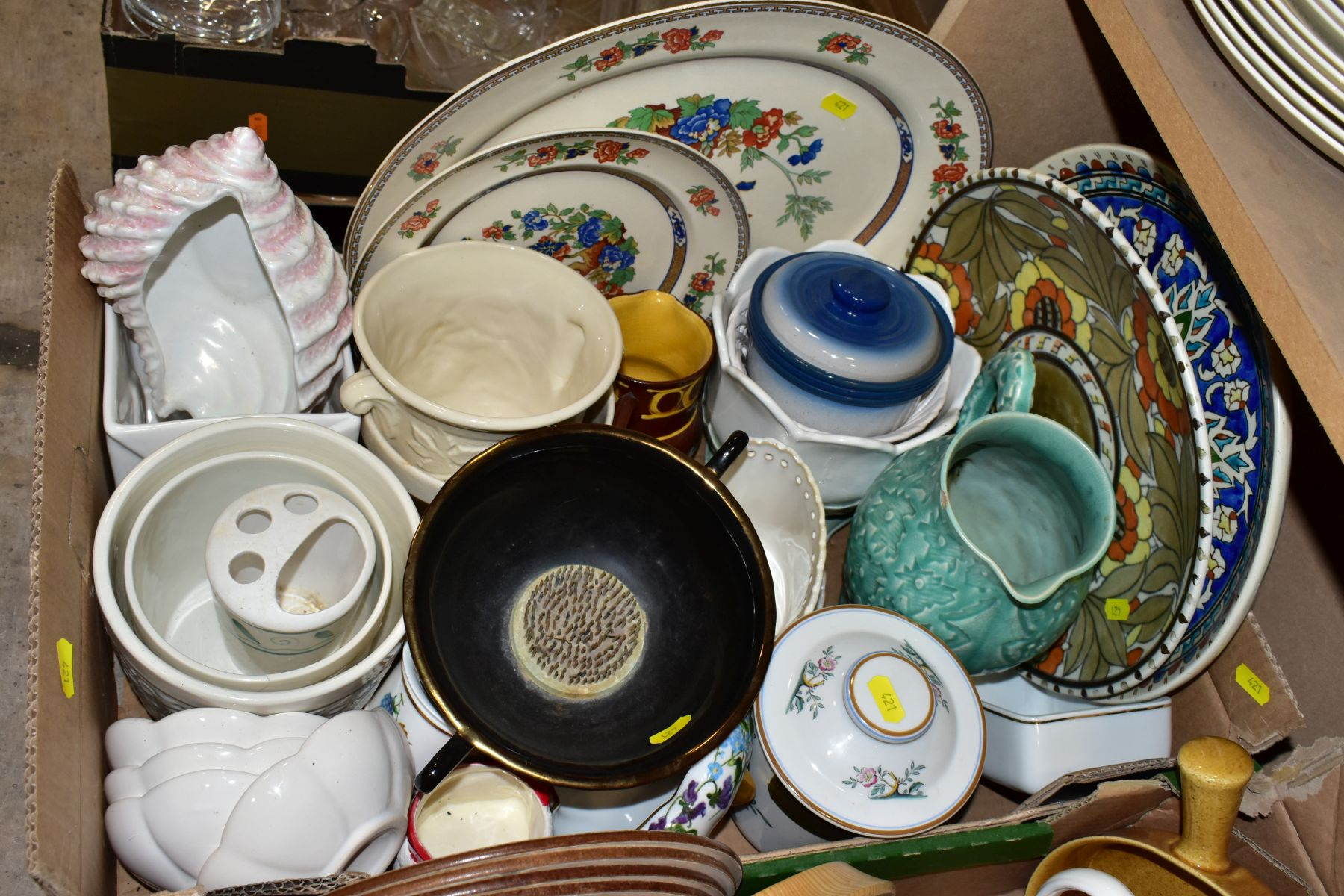 TWO BOXES OF ASSORTED CERAMICS etc to include a Charlotte Rhead charger ref 4319, Portmeirion - Image 3 of 6