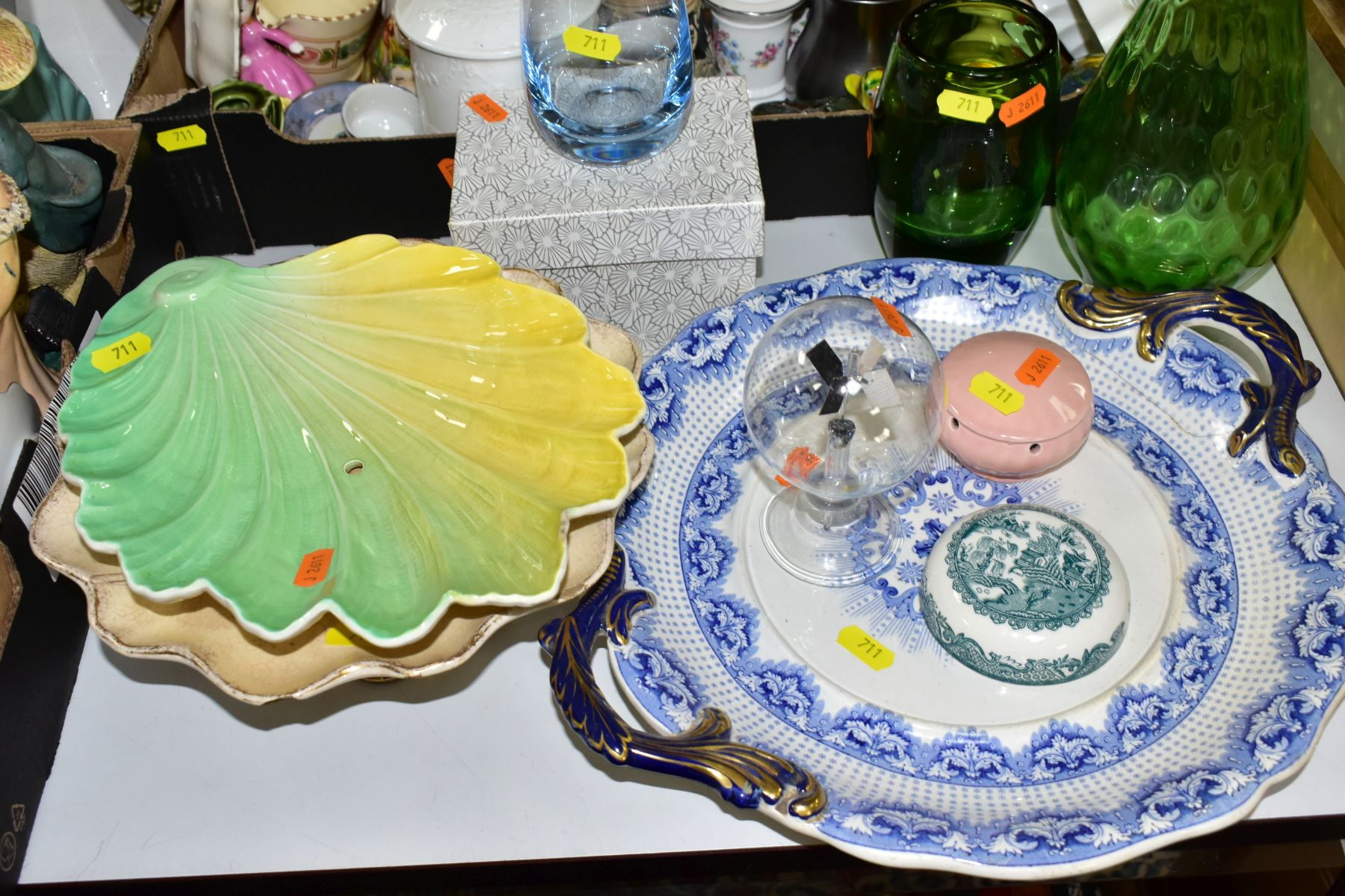 TWO BOXES AND LOOSE CERAMICS AND GLASSWARE, including animal bird and figural ornaments, two - Image 2 of 10