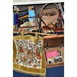 THREE BOXES AND LOOSE SUNDRY ITEMS, to include a machine woven French coat of arms 80cm x 72cm (