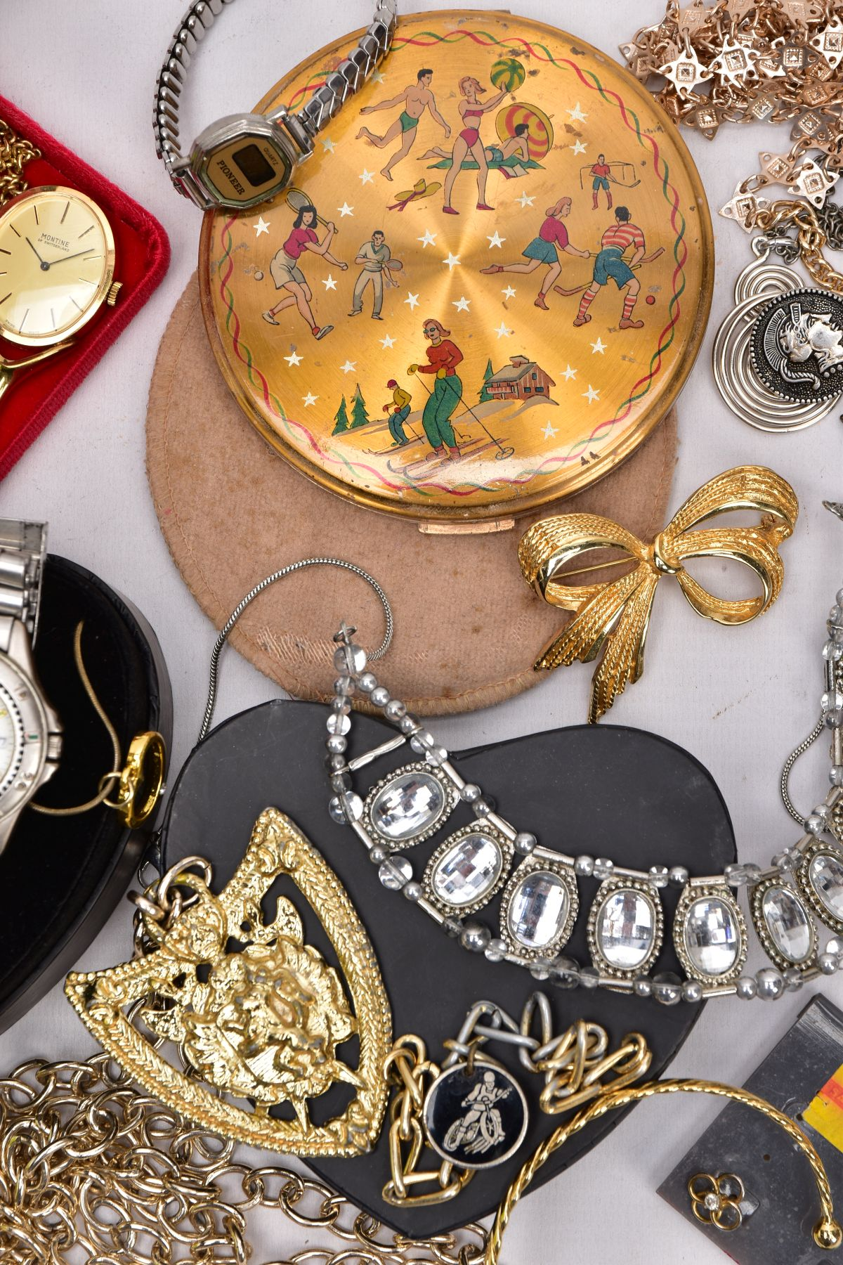 A BOX OF ASSORTED ITEMS, to include costume jewellery such as yellow and white metal necklaces, - Image 2 of 6