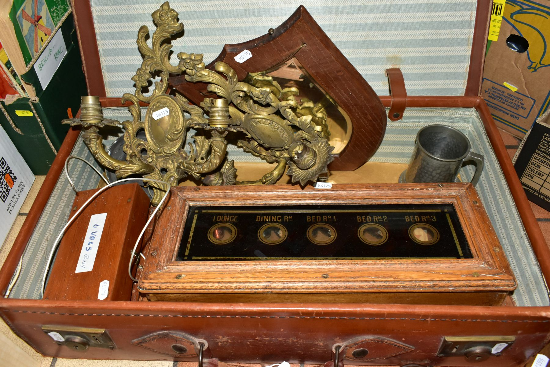 A BROWN LEATHER COVERED SUITCASE OF COLLECTABLES including servants bell board, etc, and a - Image 4 of 7