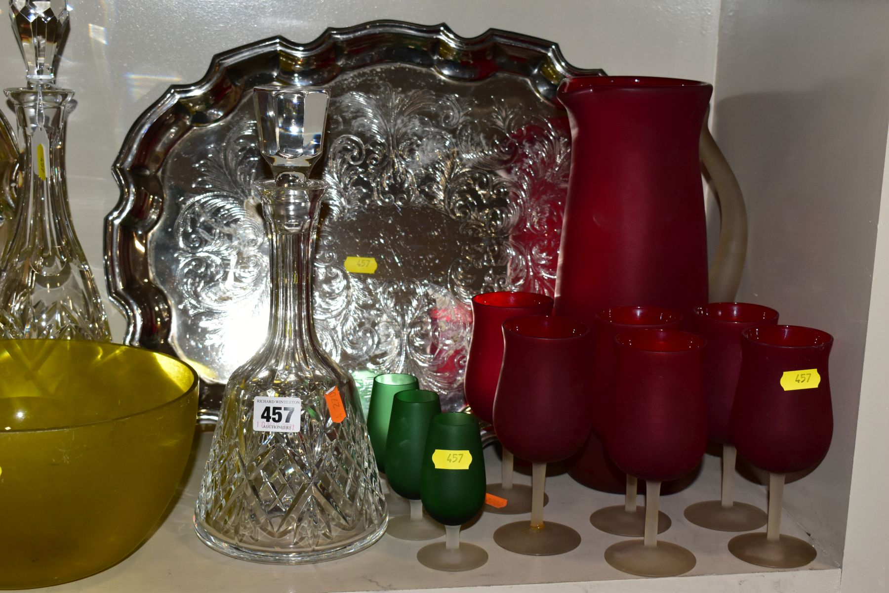 A QUANTITY OF CLEAR AND COLOURED GLASSWARE AND TWO LATE 20TH CENTURY SILVER PLATED TRAYS, - Image 2 of 10