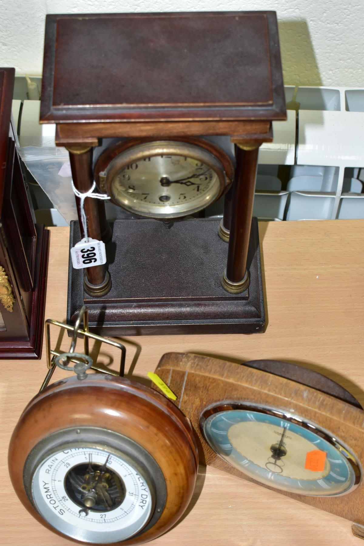 TWO MANTEL CLOCKS AND A BAROMETER, comprising an Edwardian portico mahogany stained mantel clock, - Image 6 of 6