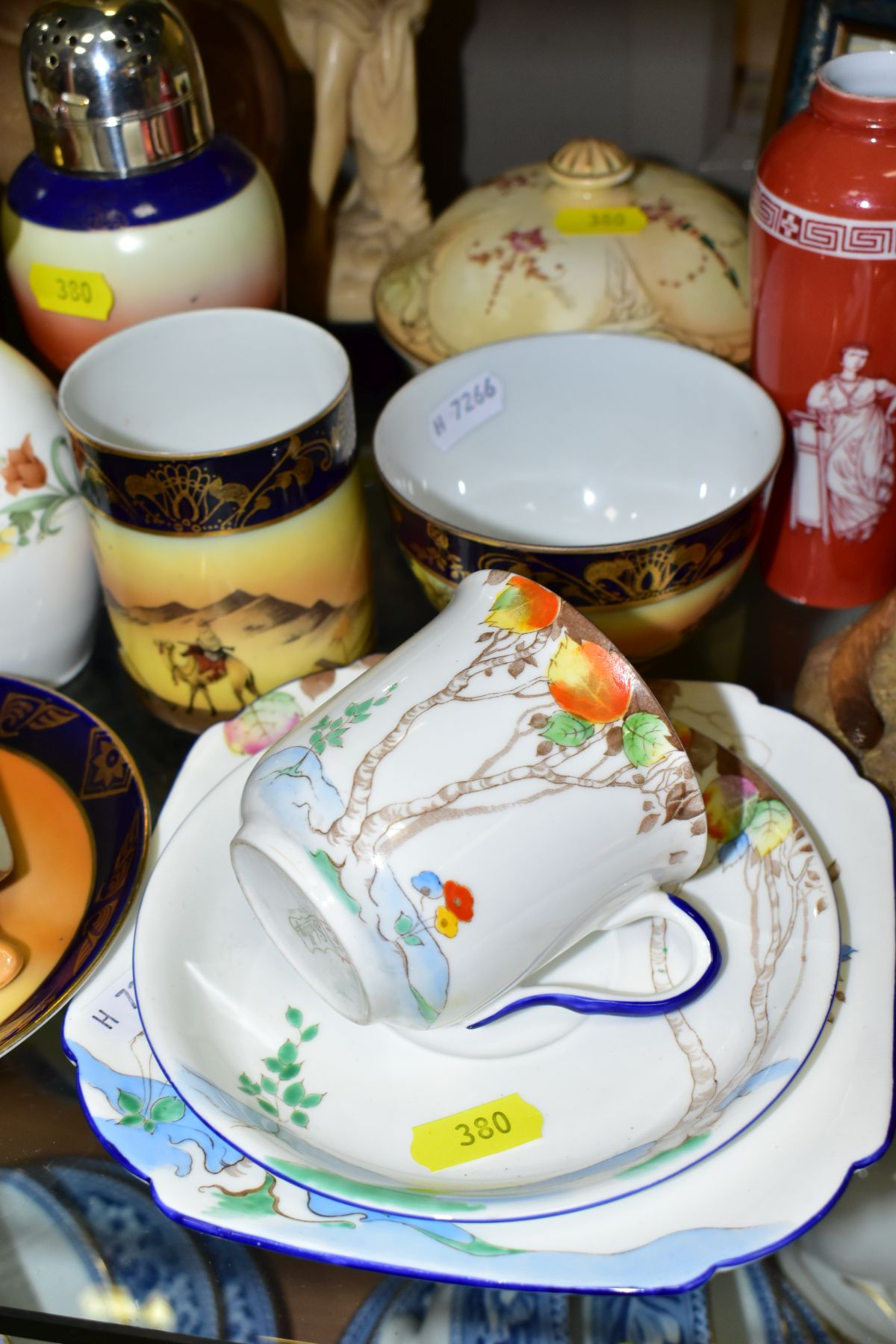 A GROUP OF CERAMICS, TINS etc, to include Royal Doulton figure 'Top O'the Hill' HN1834, Shelley - Image 3 of 11