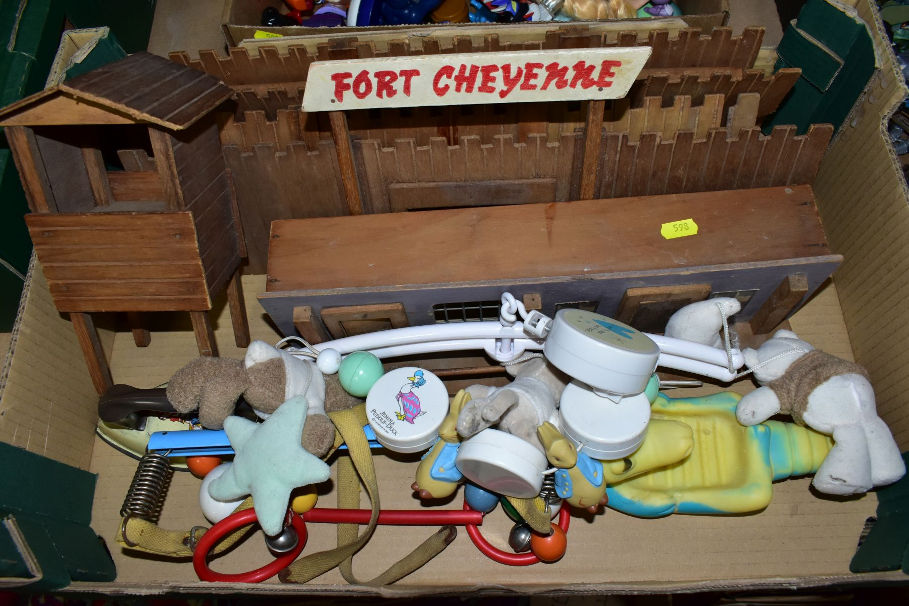 A WOODEN FORT CHEYENNE, playworn condition but appears largely complete, a B.N.D. plastic doll, with - Image 2 of 4