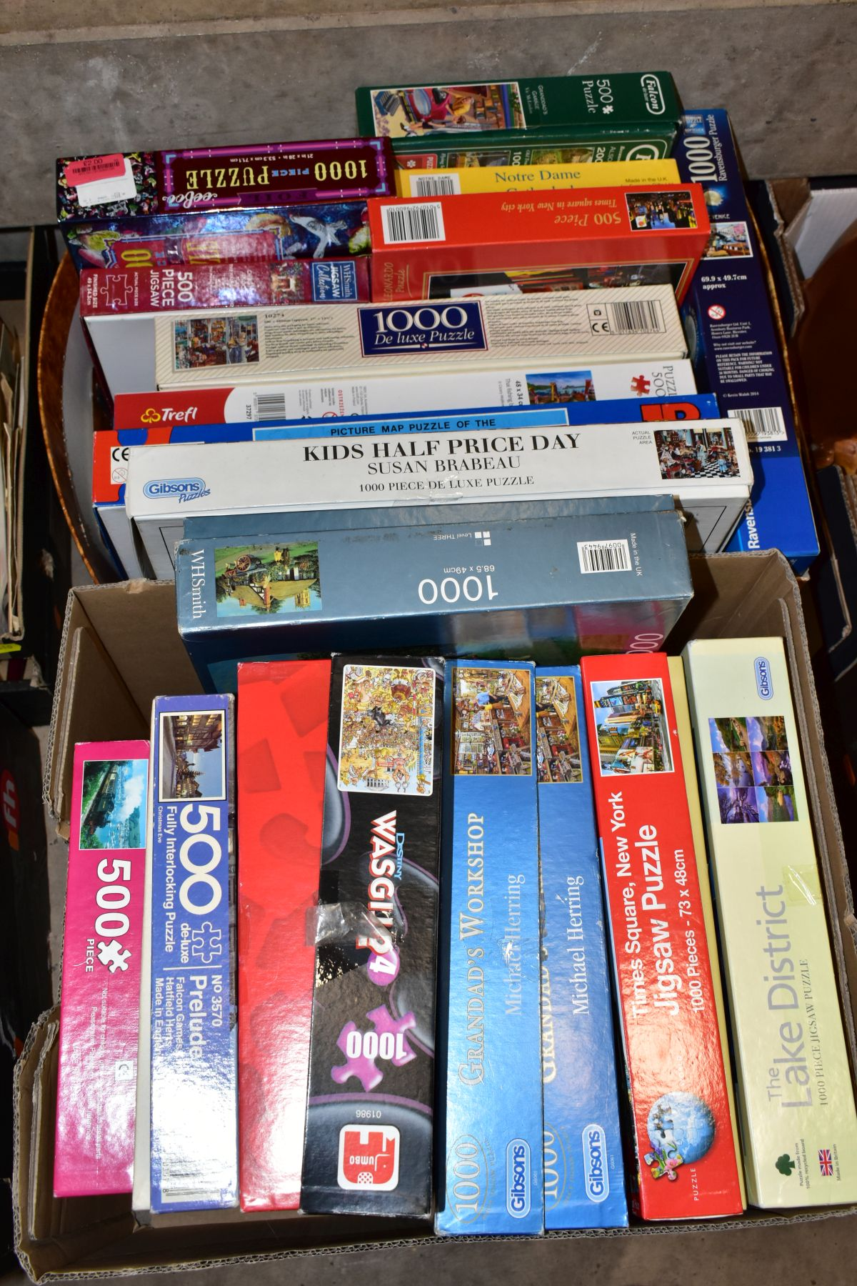 TWO BOXES OF BOXED JIGSAWS, including Gibsons 1000 piece 'Grandads Workshop', Jumbo 1000 pieces