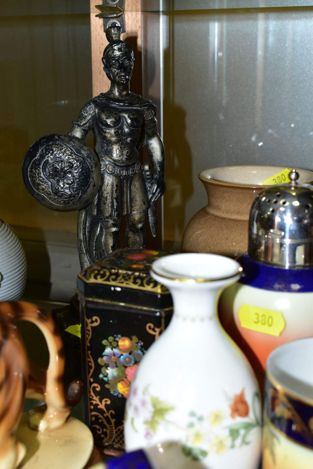 A GROUP OF CERAMICS, TINS etc, to include Royal Doulton figure 'Top O'the Hill' HN1834, Shelley - Image 6 of 11
