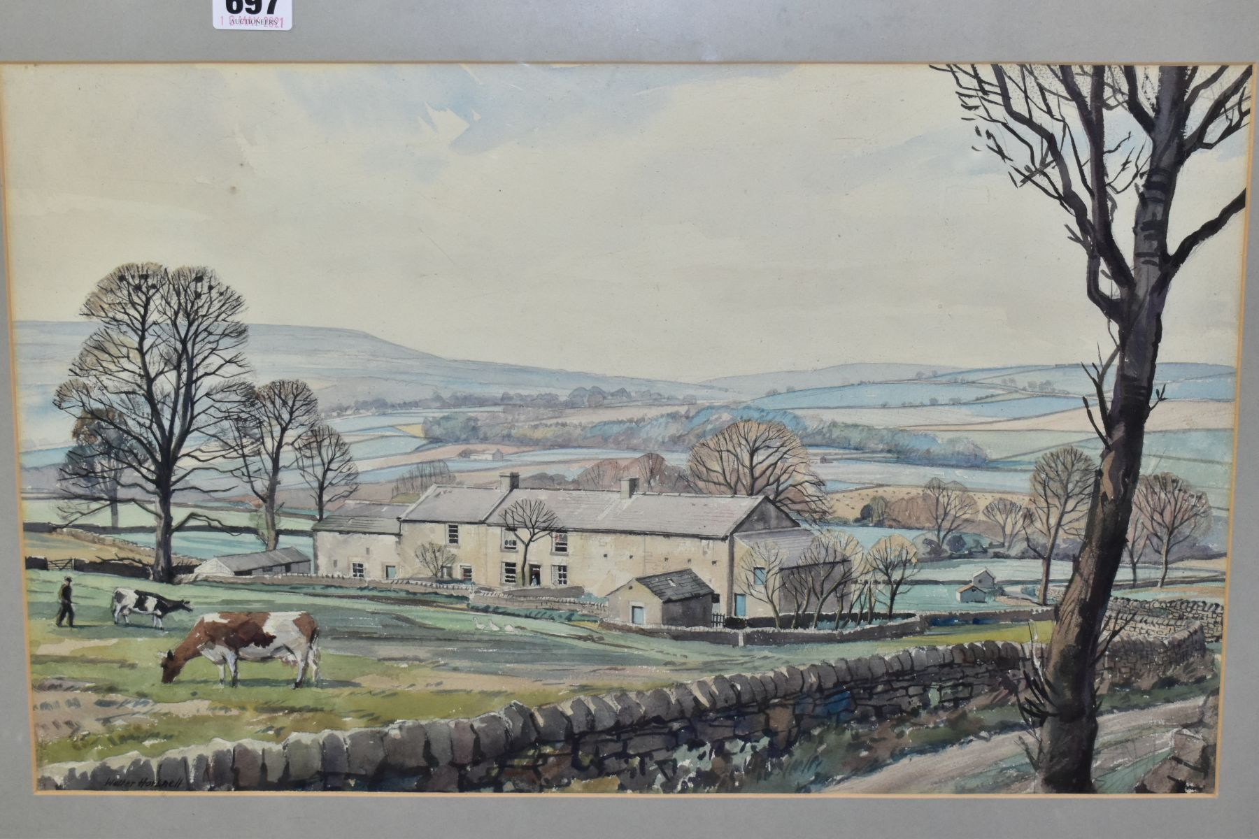 WALTER HORSNELL (1911-1997) a rural landscape with farm buildings to the mid distance, signed bottom - Image 2 of 4