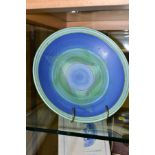 A POOLE STUDIO SALLY TUFFIN FISH PEDESTAL BOWL, hand painted with bands of blue and green with