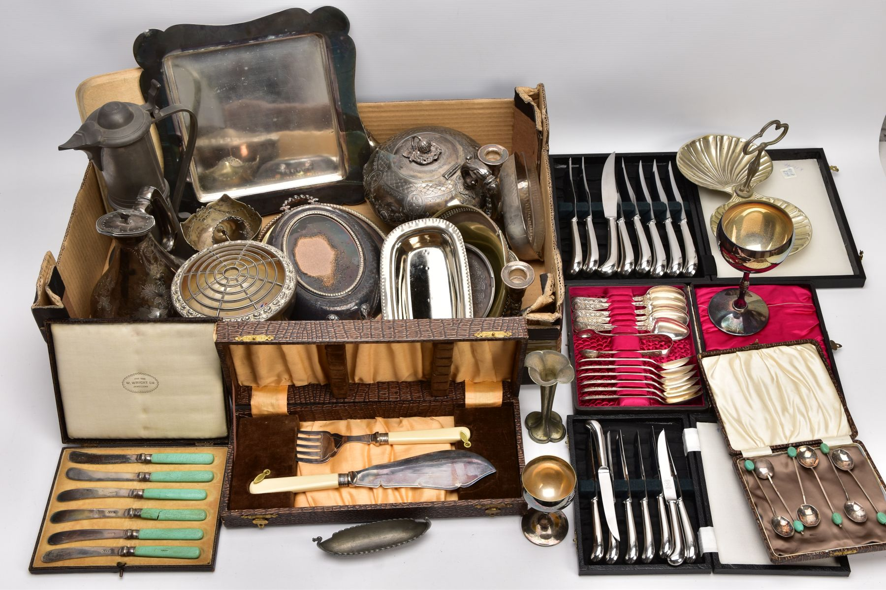A BOX OF ASSORTED METALWARE, to include three cased set of knives,, a cased set of six EPNS coffee