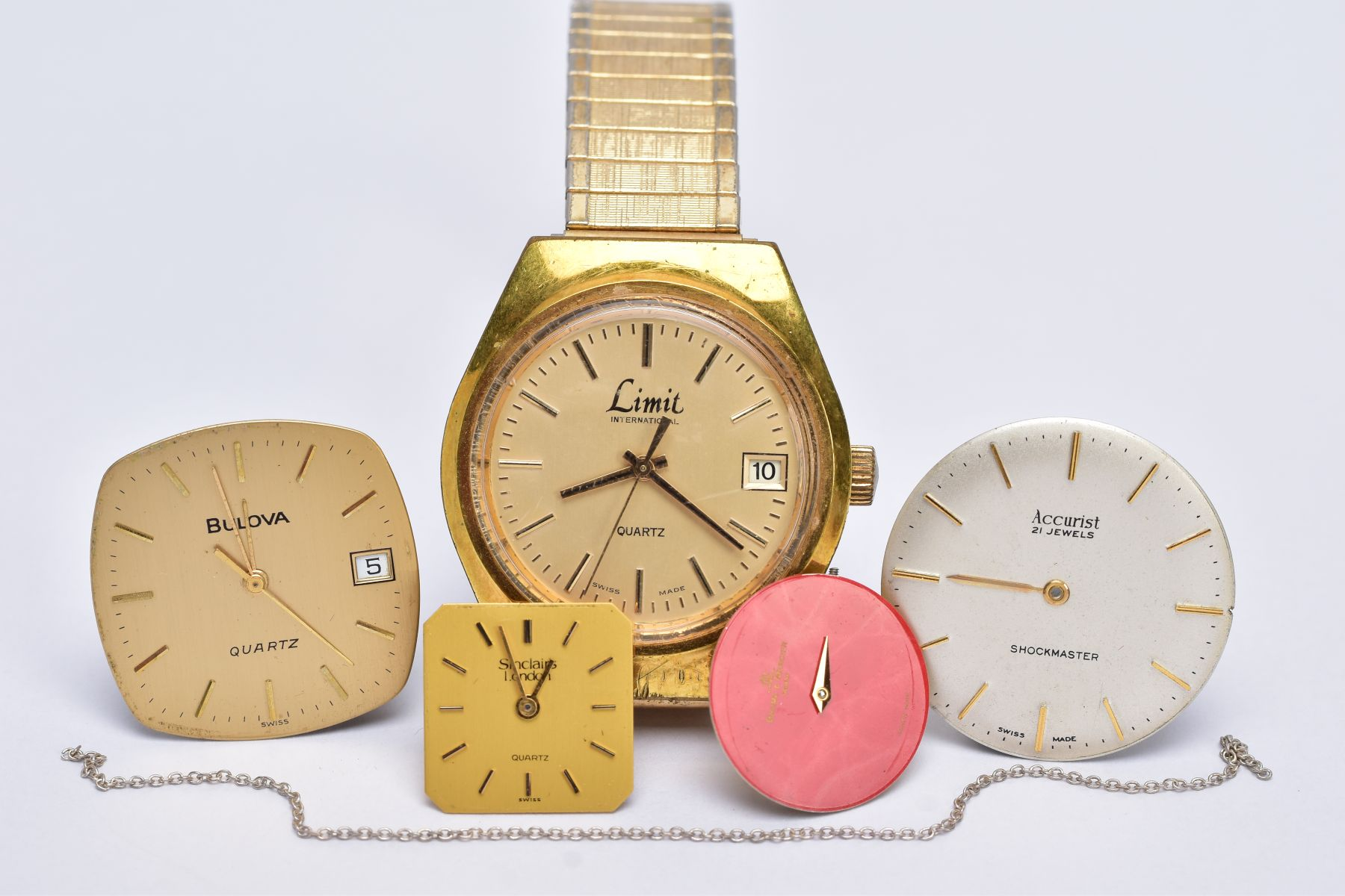 A GENTS 'LIMIT' WRISTWATCH AND WATCH PARTS, the quartz 'Limit' wristwatch, round gold dial signed '