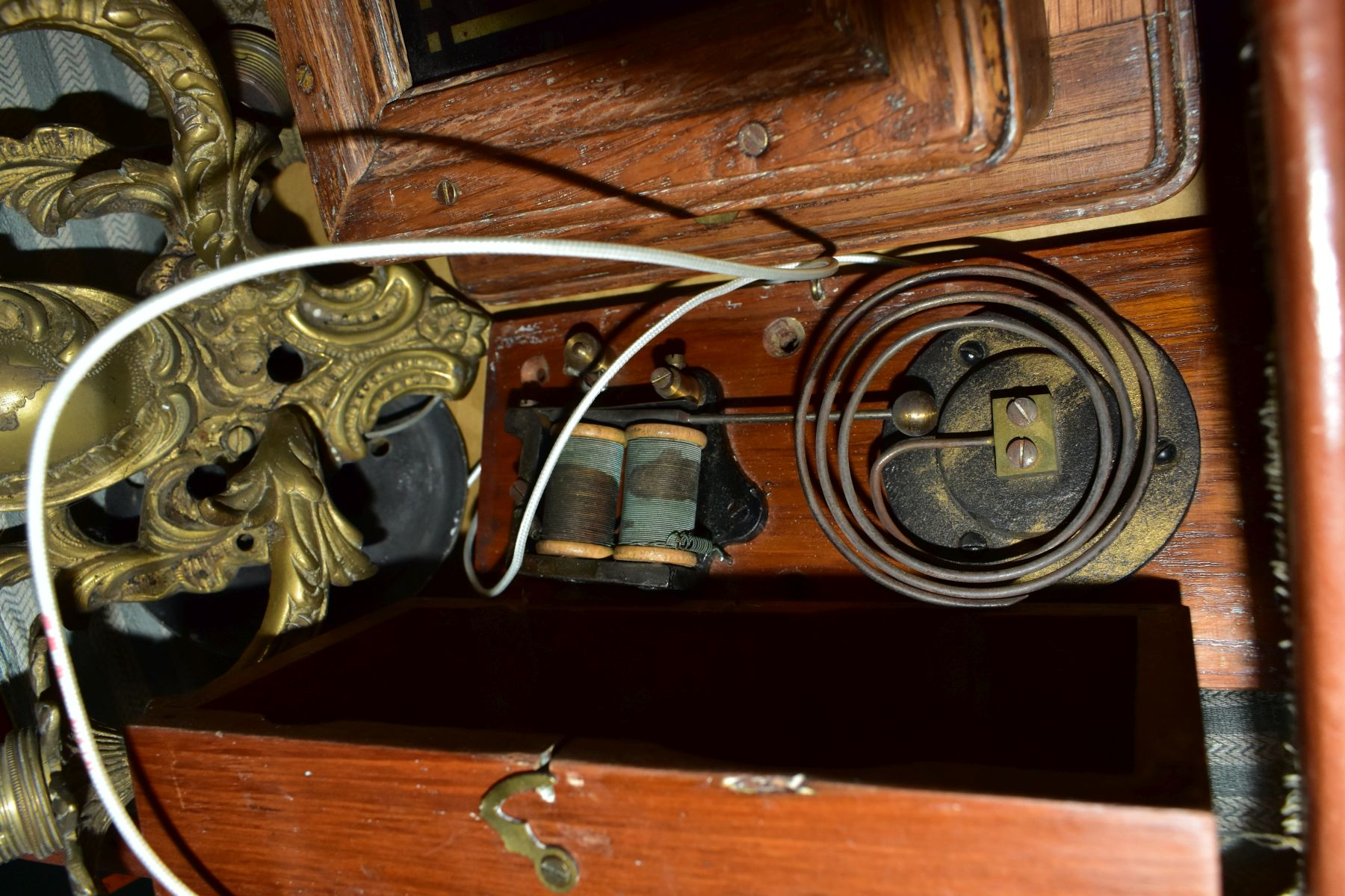 A BROWN LEATHER COVERED SUITCASE OF COLLECTABLES including servants bell board, etc, and a - Image 5 of 7