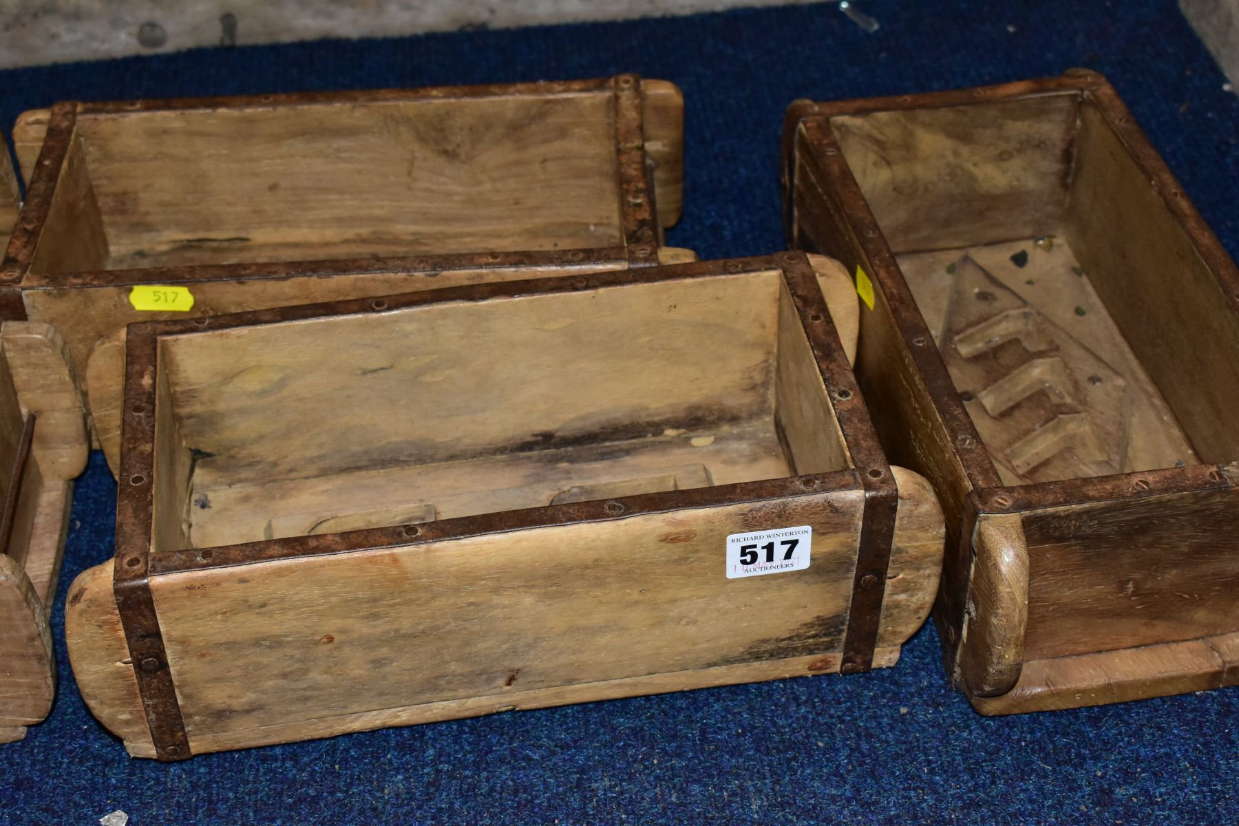 FIVE WOODEN AND METAL BOUND BRICKMAKERS MOULDS, all five with initials/numbers to the interiors, - Image 2 of 5