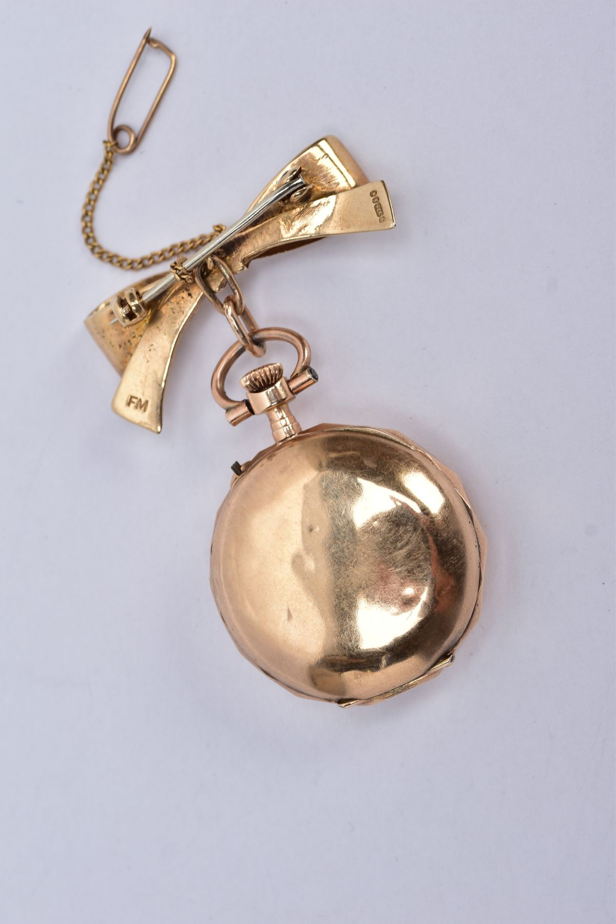 AN EARLY 20TH CENTURY GOLD AND DIAMOND LADY'S FOB WATCH, white enamel dial signed 'Elba', case - Image 2 of 5