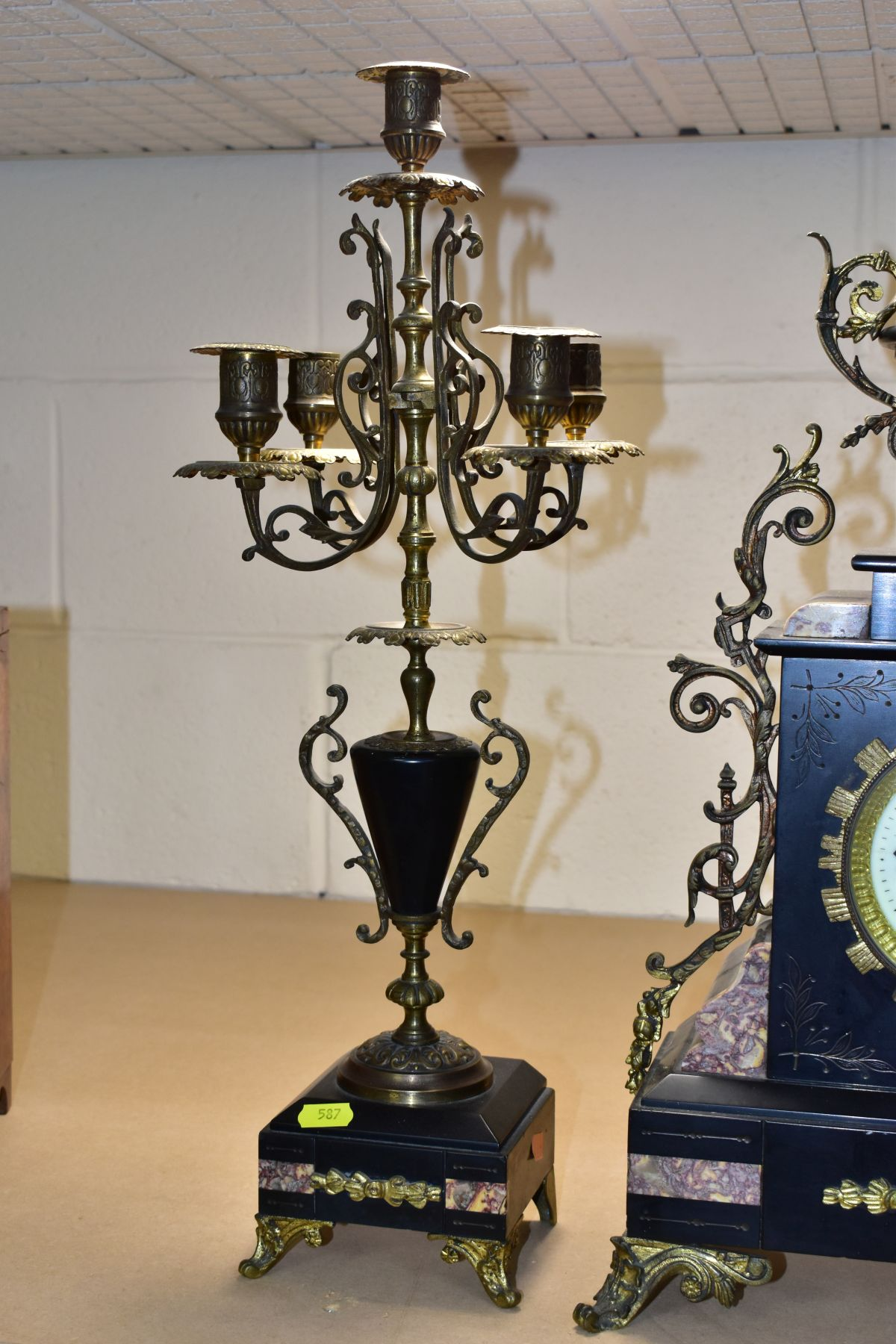 A LATE 19TH CENTURY BLACK SLATE, MARBLE AND GILT METAL CLOCK GARNITURE, the clock with urn shaped - Image 6 of 13