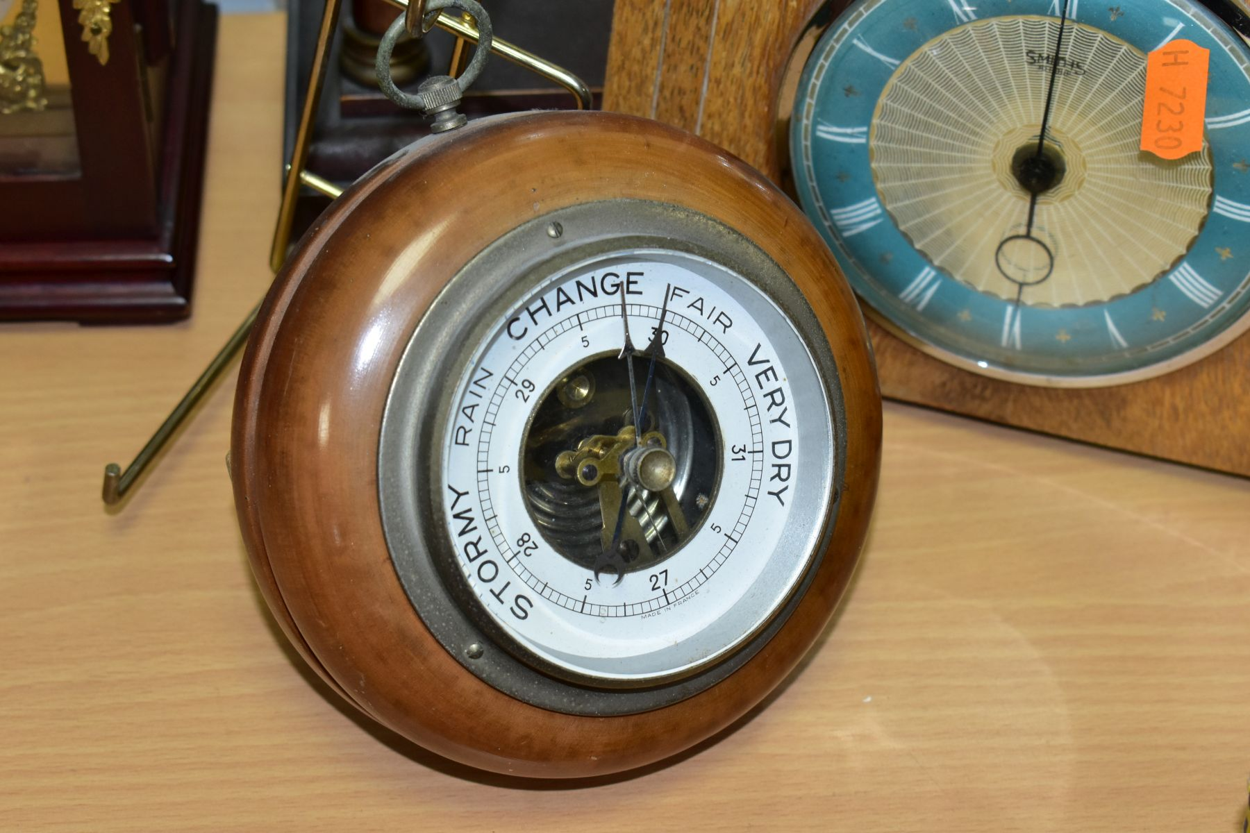 TWO MANTEL CLOCKS AND A BAROMETER, comprising an Edwardian portico mahogany stained mantel clock, - Image 2 of 6