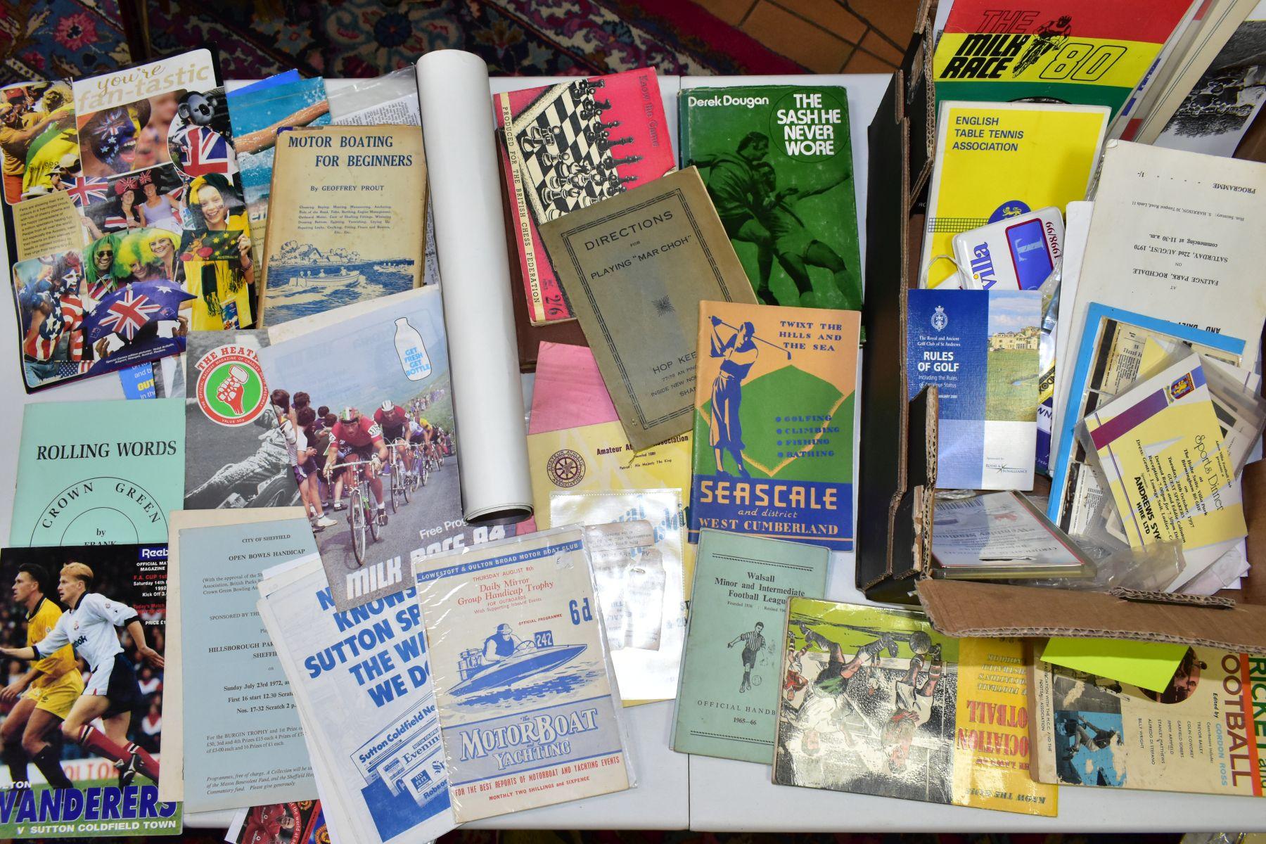 EPHEMERA, three boxes of ephemera, box one includes books, programmes, horse racing passes, Aston - Image 4 of 7
