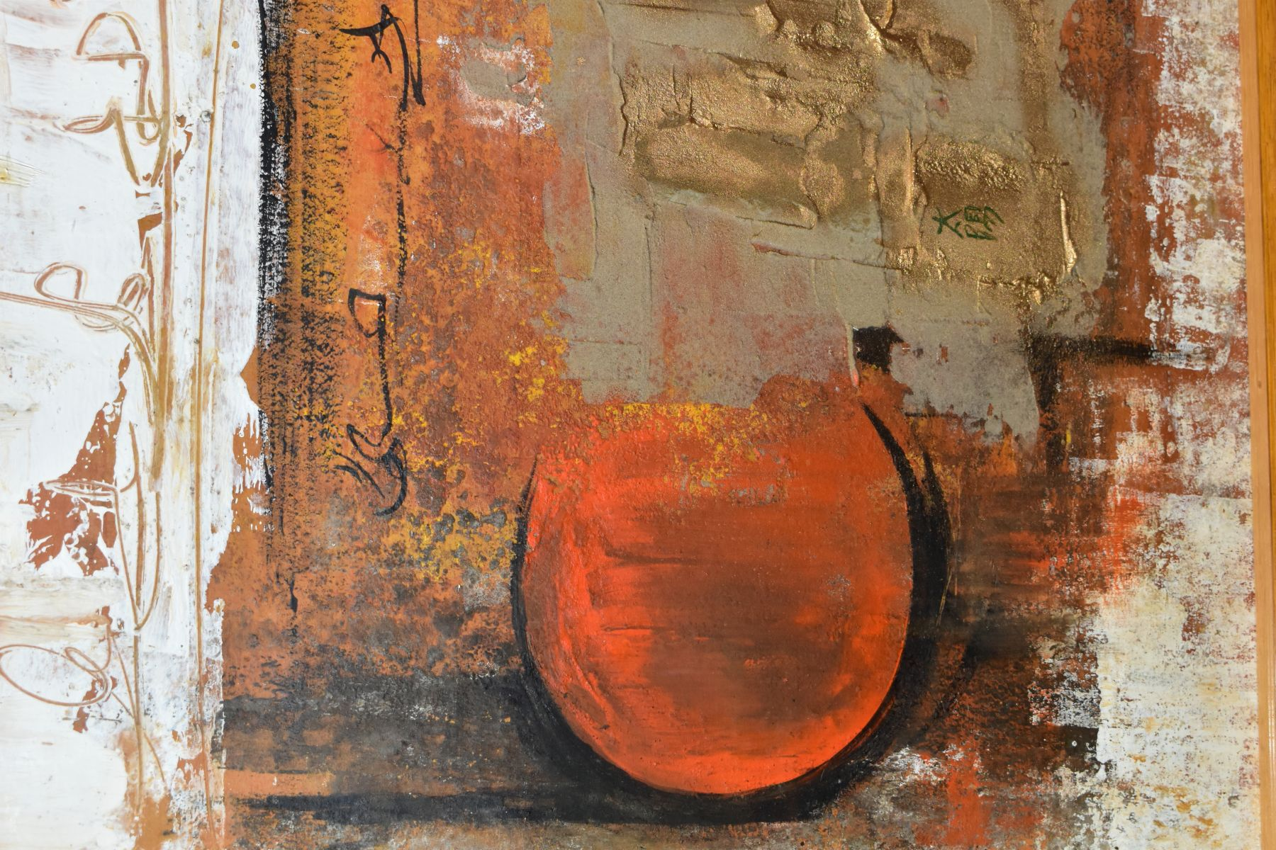 MICHAEL JOHN BOLAN (1939-1995) 'EMPIRE OF THE SUN', an abstract Raku painting signed with Chinese - Image 2 of 5