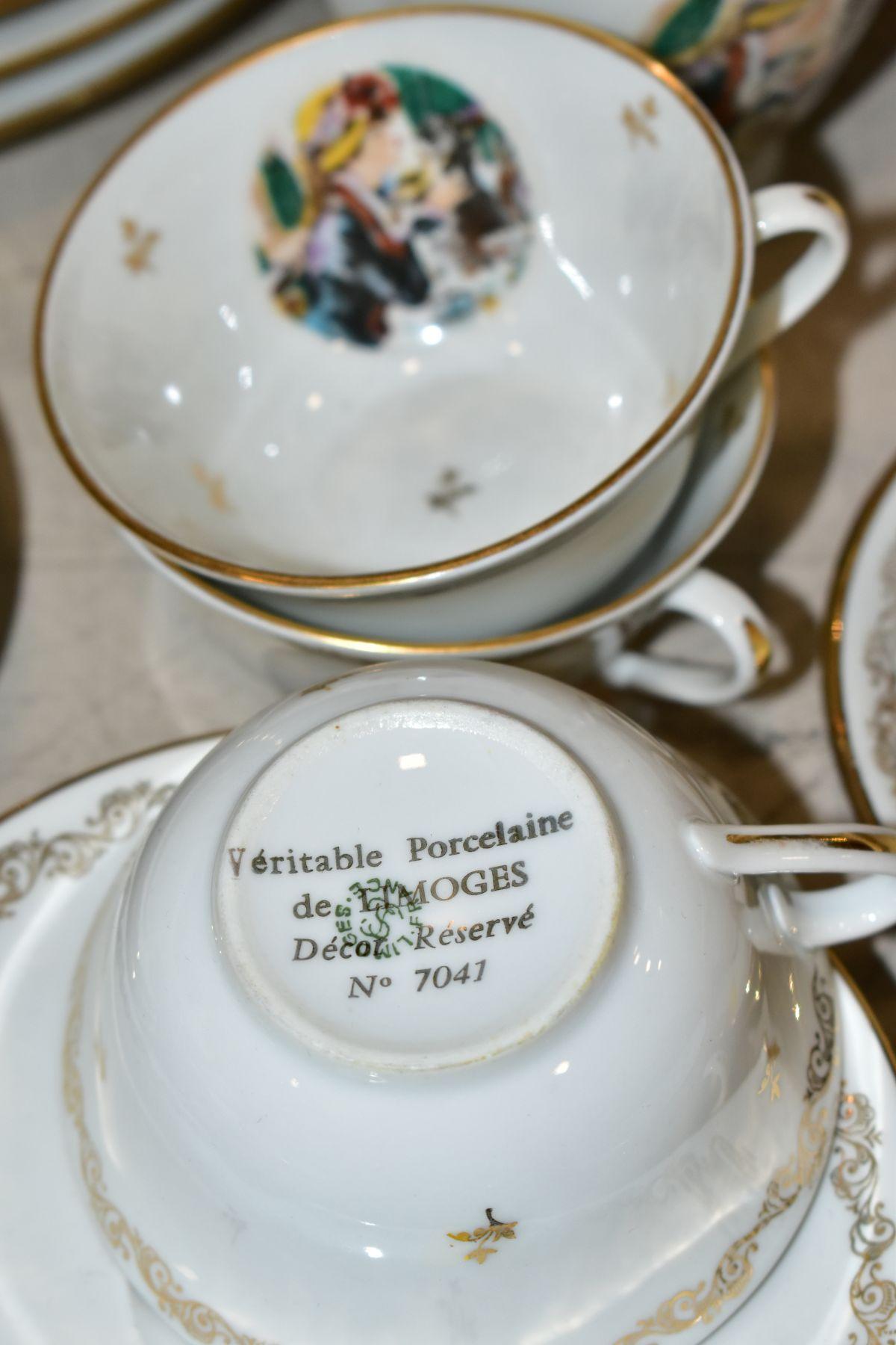 A LIMOGES 'RENOIR' DINNER SERVICE, marked to the base 'Veritable Porcelaine de Limoges Decor Reserve - Image 7 of 9