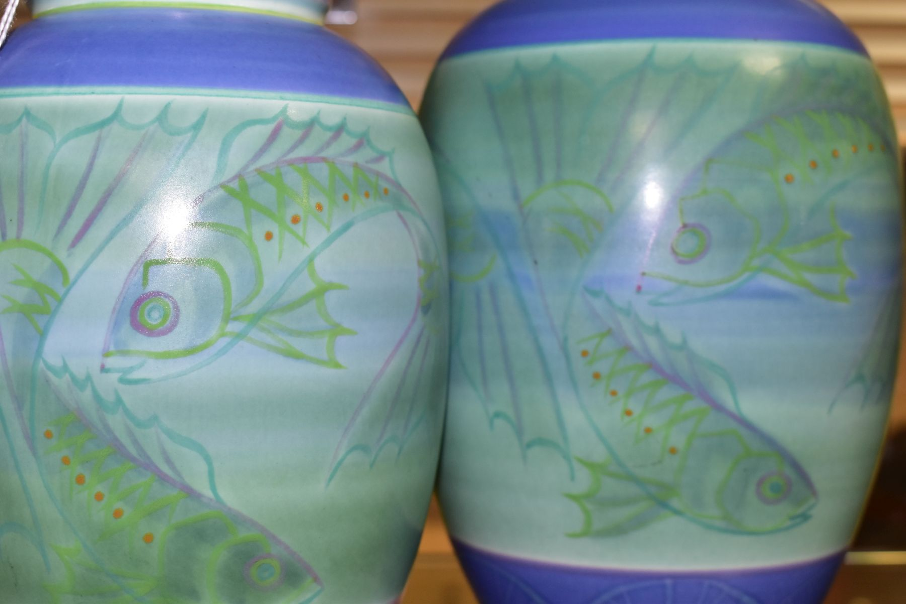 A POOLE STUDIO SALLY TUFFIN BALUSTER VASE AND MATCHING JAR, the baluster vase handpainted with bands - Image 7 of 7