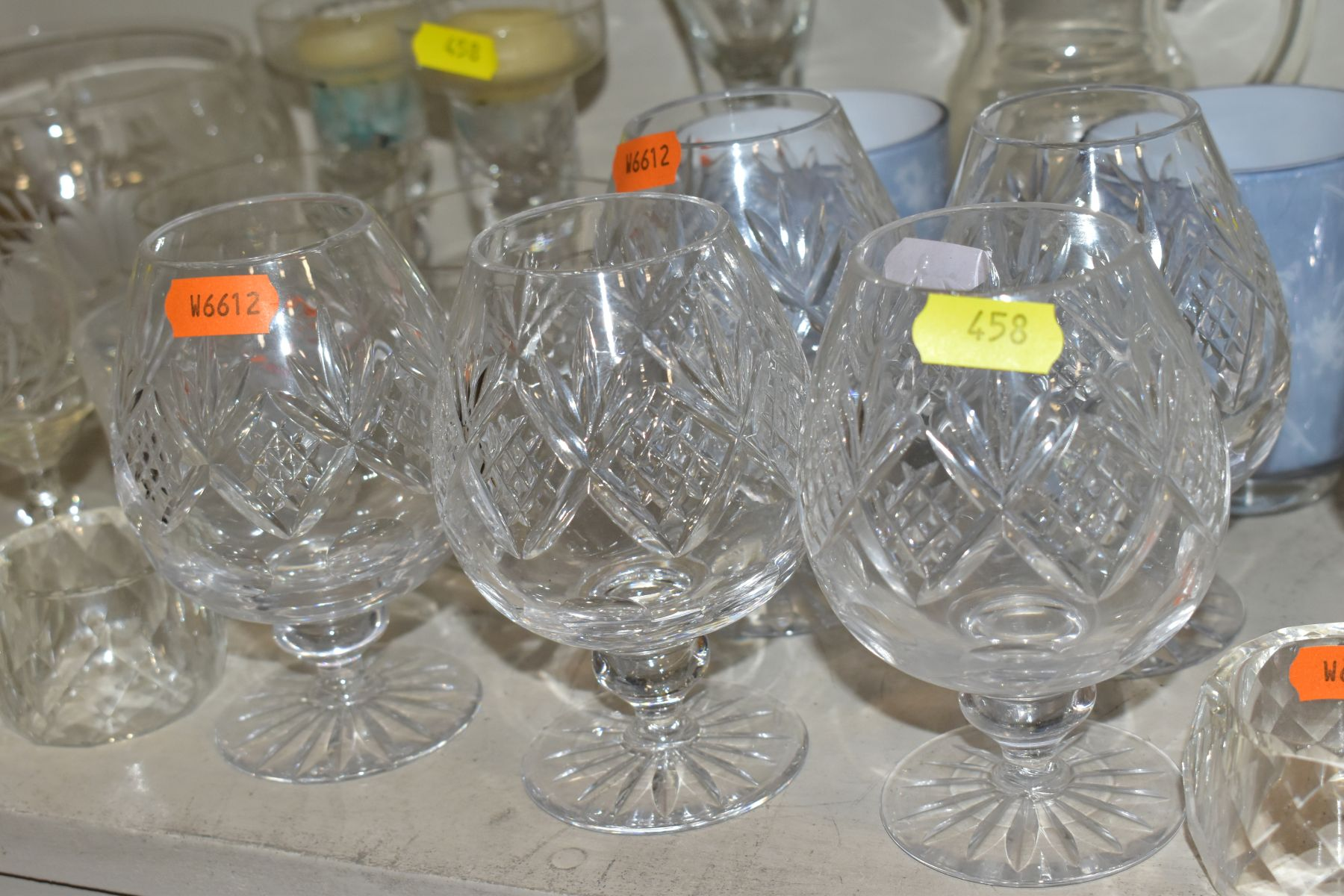 A SMALL QUANTITY OF CLEAR AND COLOURED GLASSWARE, including an Edinburgh Crystal vase, height 25. - Image 7 of 10