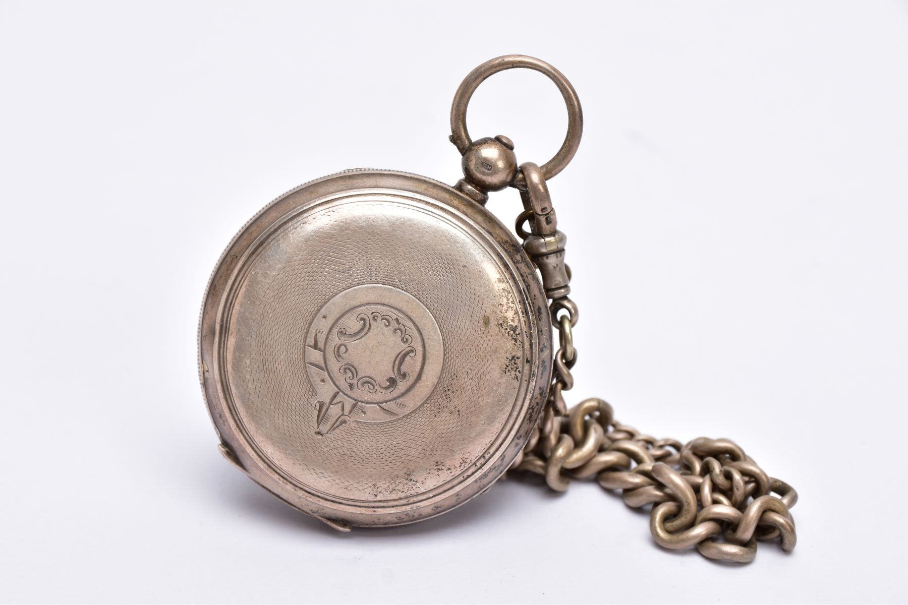 A SILVER OPEN FACED POCKET WITH ALBERT CHAIN, white dial signed 'The Empire', Roman numerals, - Image 2 of 5