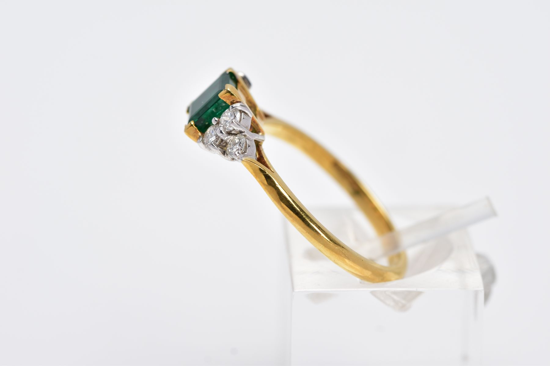 A LATE 20TH CENTURY 18CT GOLD EMERALD AND DIAMOND RING, centring on a square cut emerald measuring - Image 2 of 5