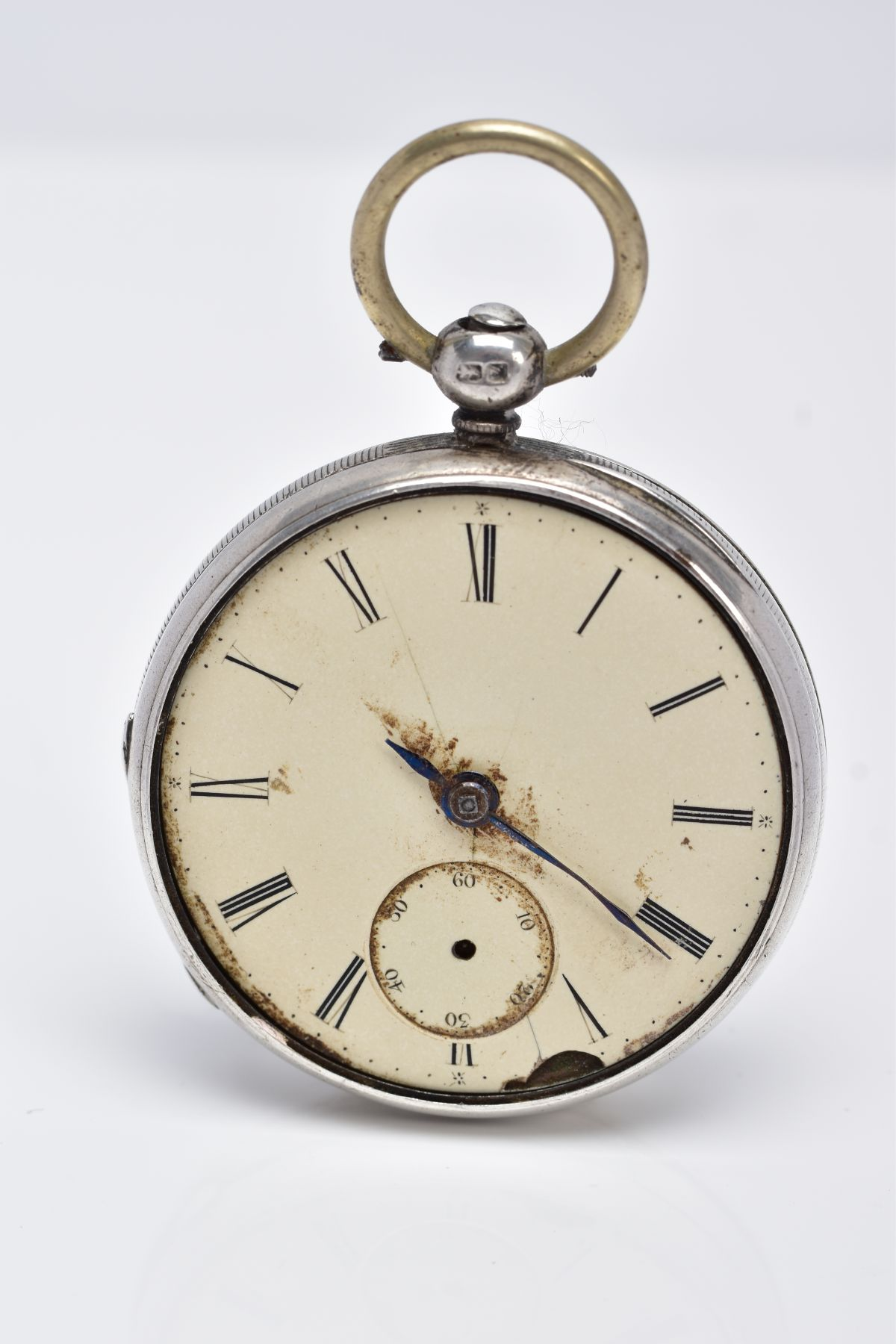 A SILVER OPEN FACED POCKET WATCH, AF, cream dial, Roman numerals, seconds subsidiary dial at the six