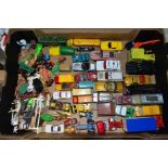 A QUANTITY OF UNBOXED AND ASSORTED PLAYWORN DIECAST VEHICLES AND PLASTIC figures, to include