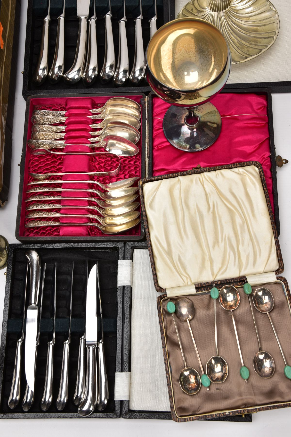 A BOX OF ASSORTED METALWARE, to include three cased set of knives,, a cased set of six EPNS coffee - Image 2 of 7