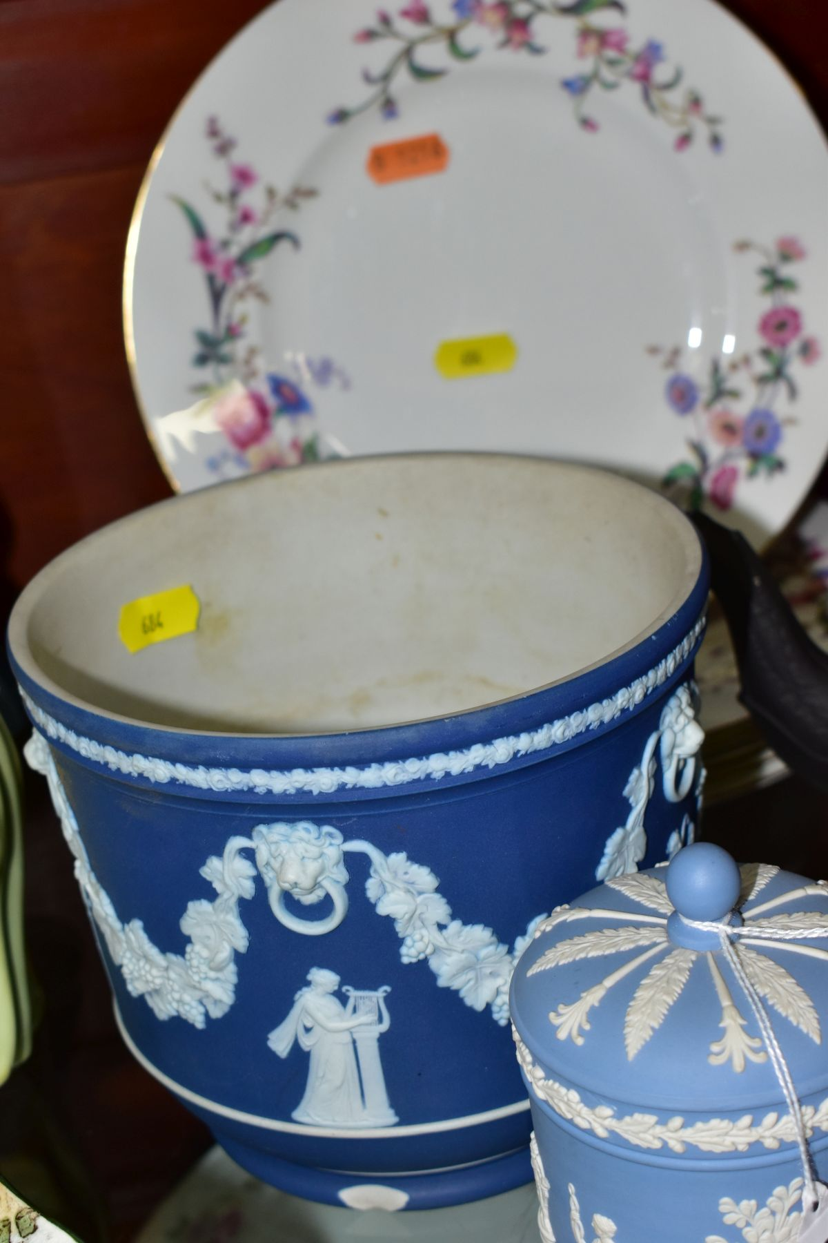 CERAMICS to include blue jasper ware trinkets, etc, Wedgwood Clio clock, black basalt teapot with - Image 5 of 8
