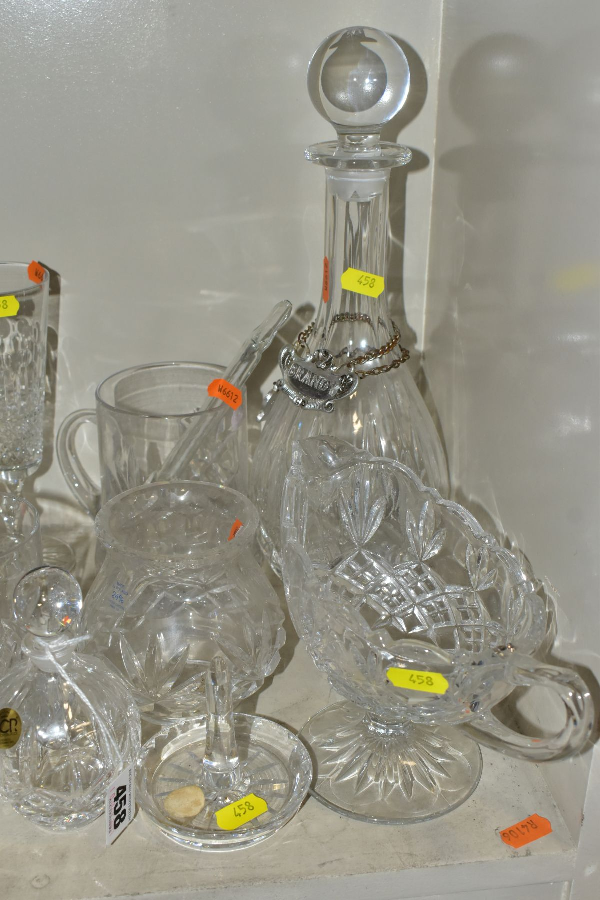 A SMALL QUANTITY OF CLEAR AND COLOURED GLASSWARE, including an Edinburgh Crystal vase, height 25. - Image 5 of 10