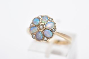 A MODERN 9CT GOLD OPAL AND SPLIT PEARL CLUSTER RING, designed with oval cabochon opals and split