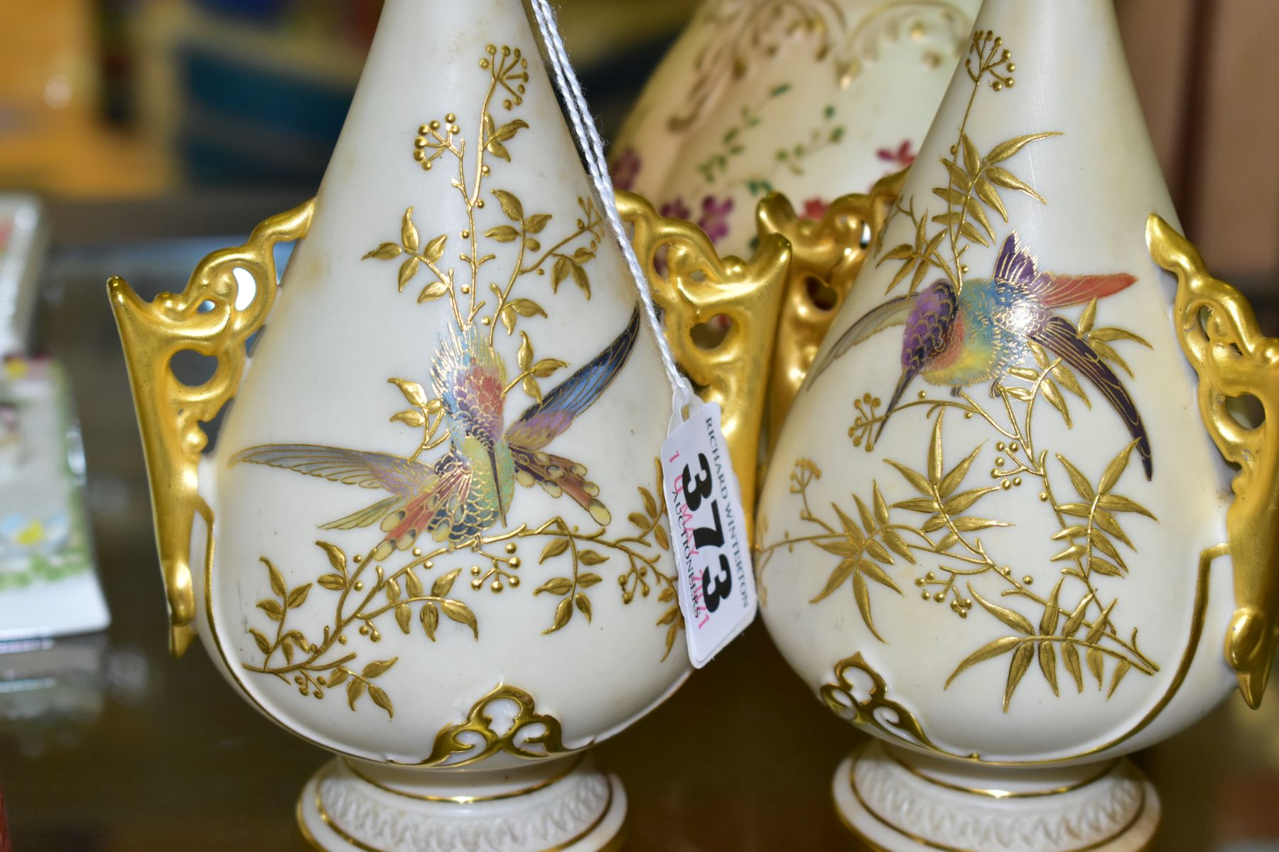 A SMALL COLLECTION OF ROYAL WORCESTER PORCELAIN, comprising a pair of blush ivory conical twin - Image 4 of 9