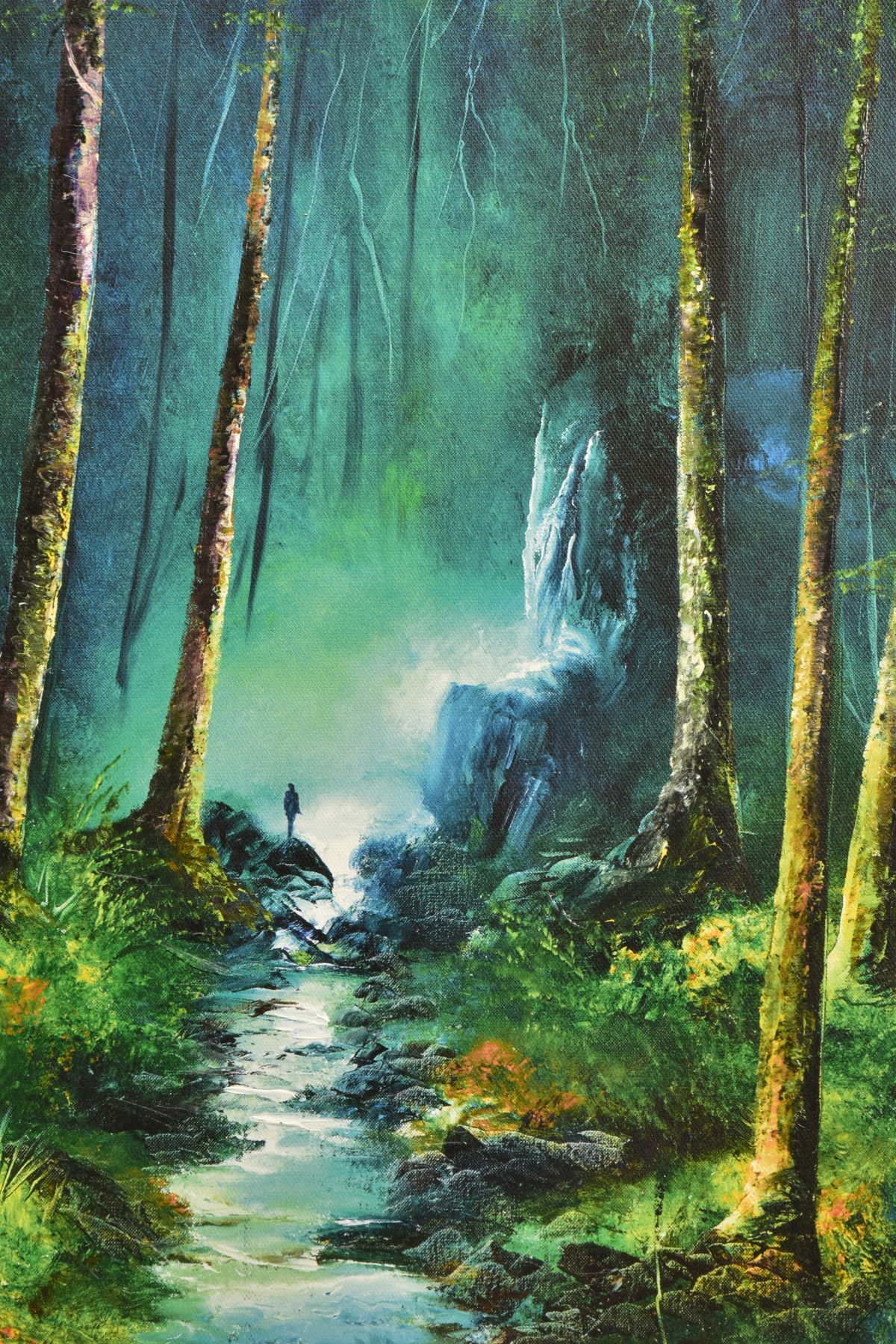 PHILIP GRAY (IRISH 1959) 'FOREST OF LIGHT' a woodland landscape with waterfall and stream, limited - Image 2 of 7
