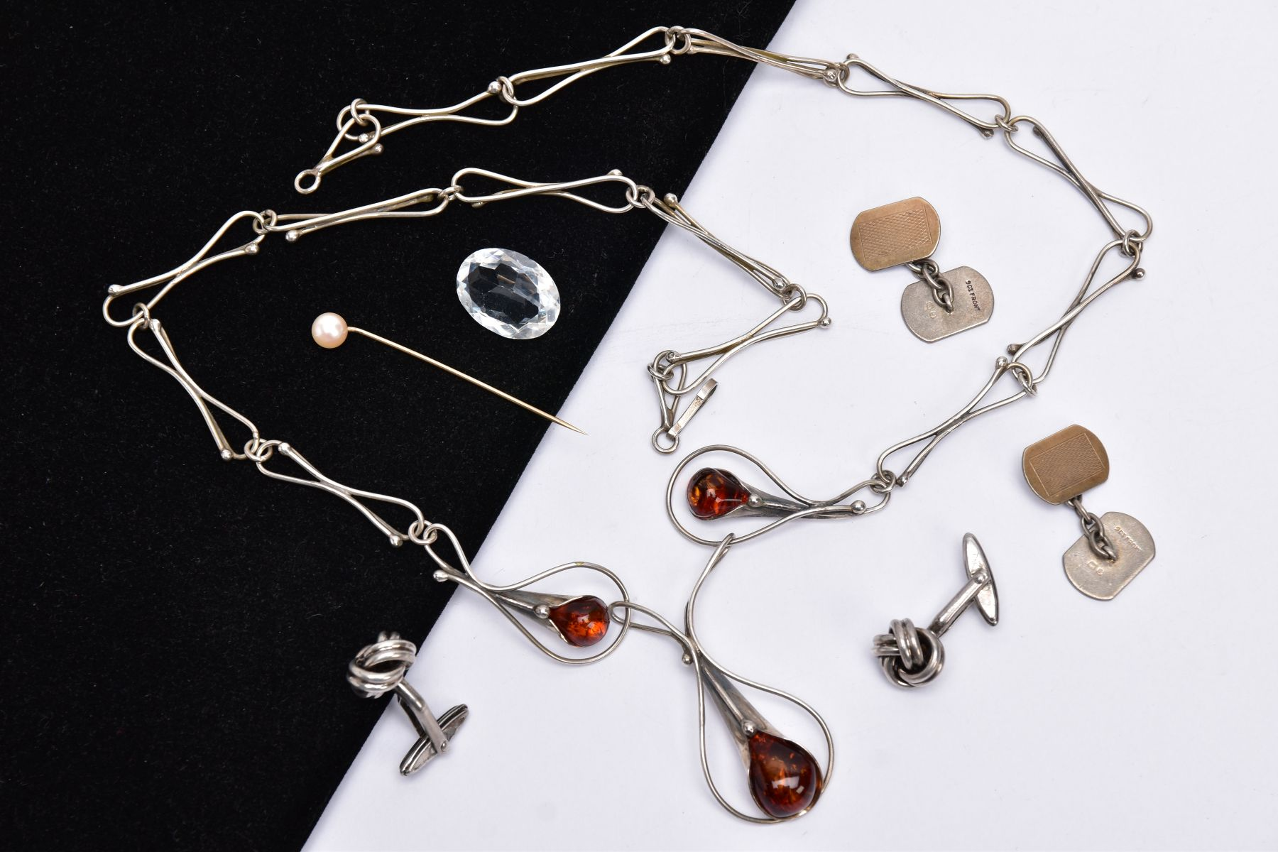 A SILVER AMBER NECKLACE, SILVER CUFFLINKS, STICK PIN, CUFFLINKS, ETC, the silver necklet designed