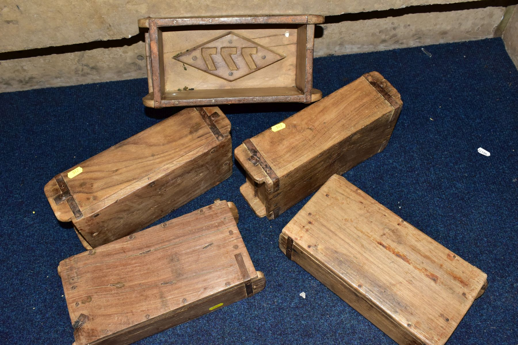 FIVE WOODEN AND METAL BOUND BRICKMAKERS MOULDS, all five with initials/numbers to the interiors, - Image 5 of 5