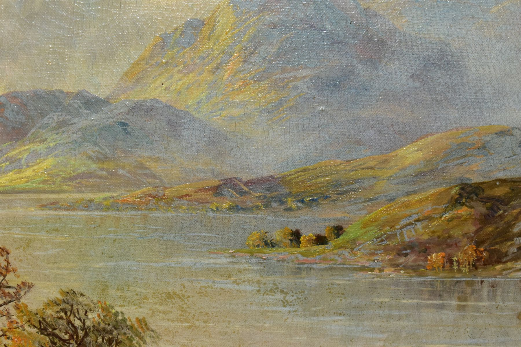 FRANCIS E.JAMIESON (1895-1950) 'LOCH KATRINE', a Scottish landscape, a large body of water to the - Image 4 of 4