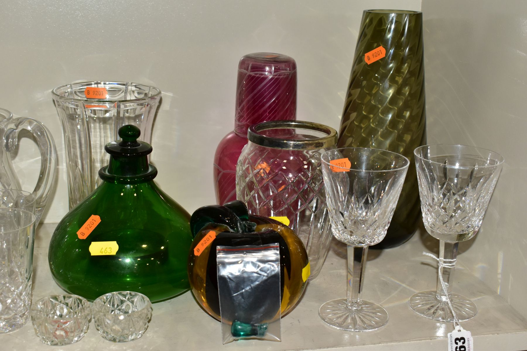 A GROUP OF CUT/COLOURED GLASSWARES, etc, to include a pair of Waterford crystal wines, a Stuart - Image 2 of 13