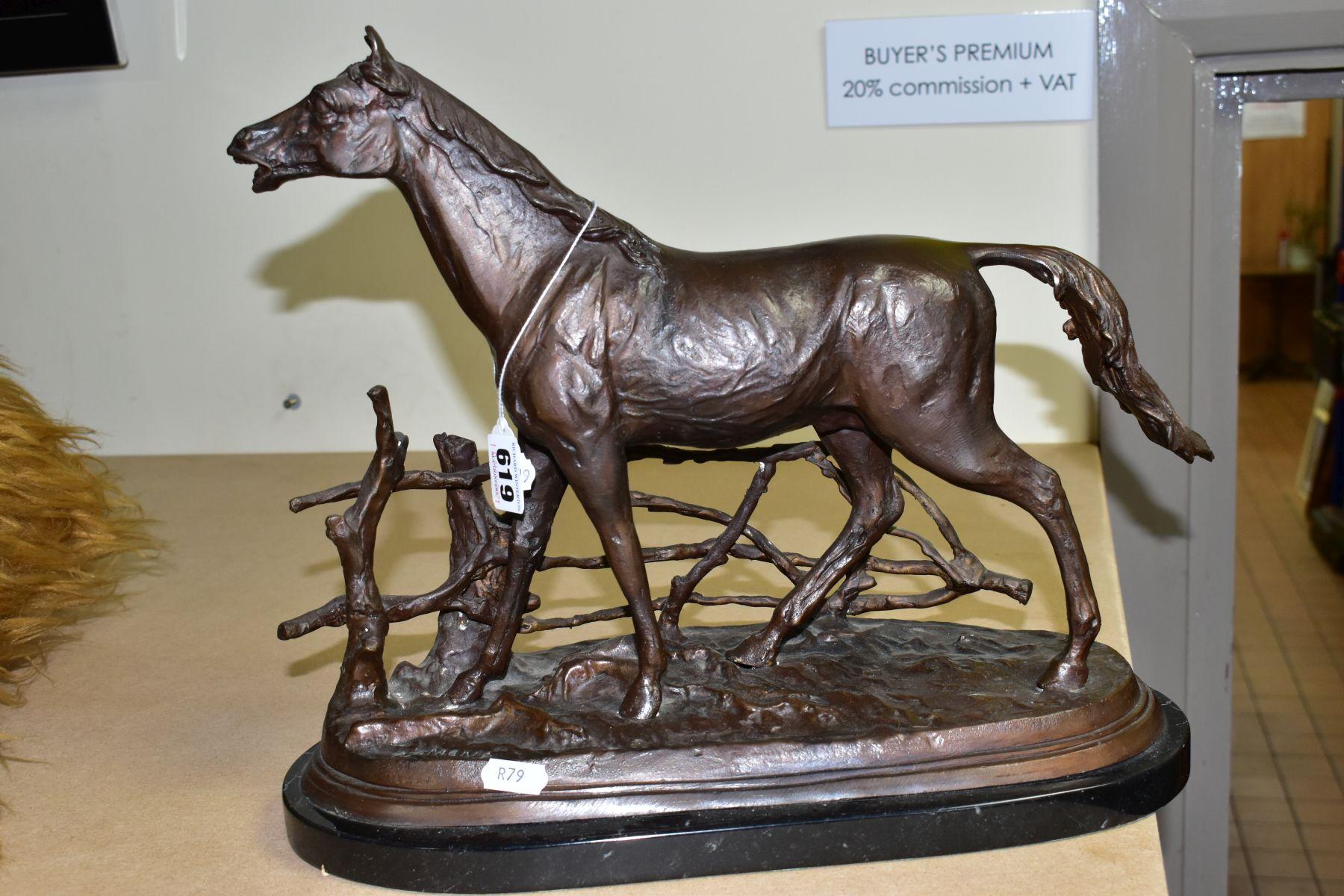 AFTER PIERRE JULES MENE 'A LA BARRIERE' a bronze sculpture of a horse beside a fence, bears a