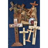 A BOX OF WOODEN CRUCIFIXES, together with rosary beads and religious medallions
