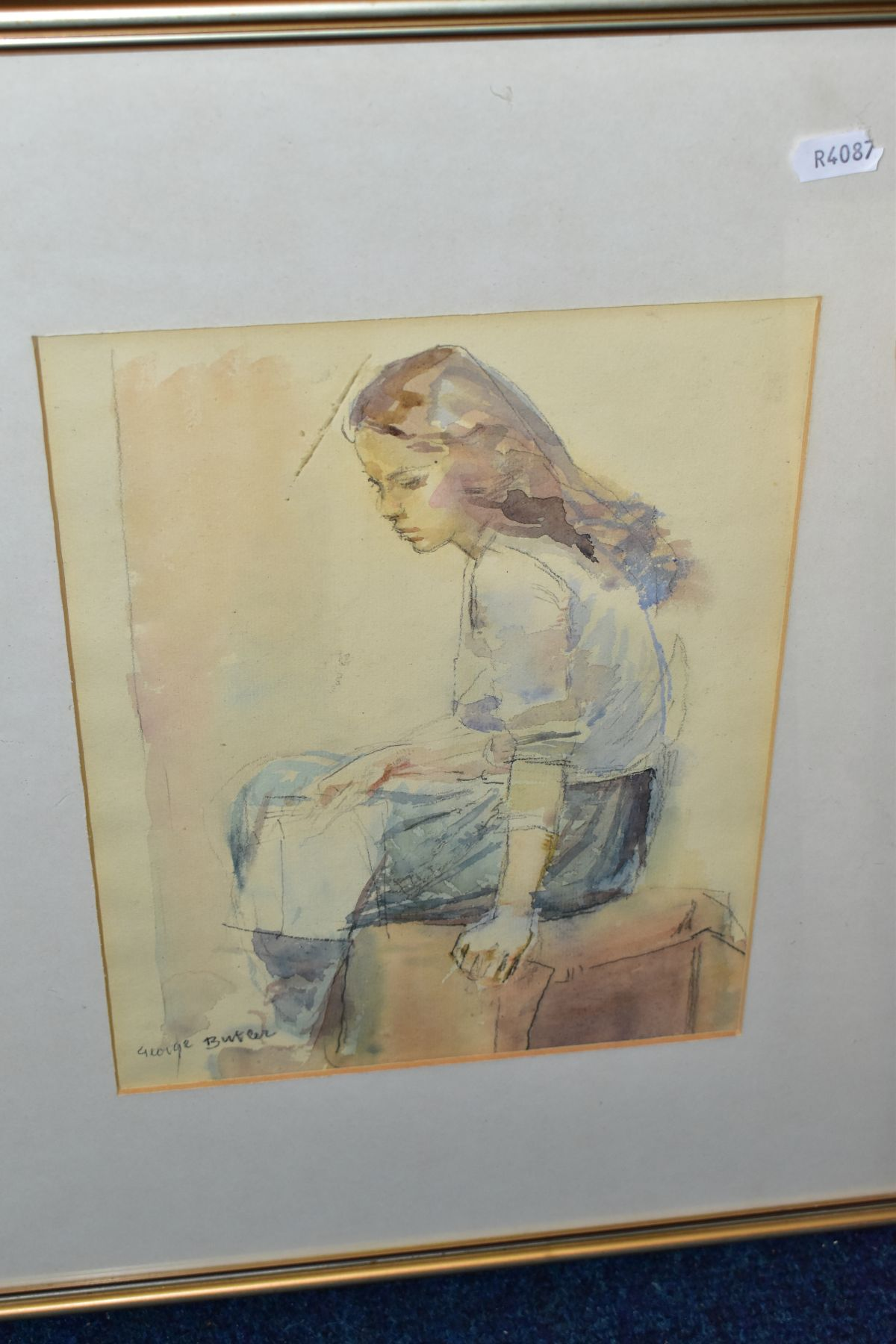 PAINTINGS AND DRAWINGS, to include George Butler (1904-1999) full length seated study of a female - Image 2 of 5