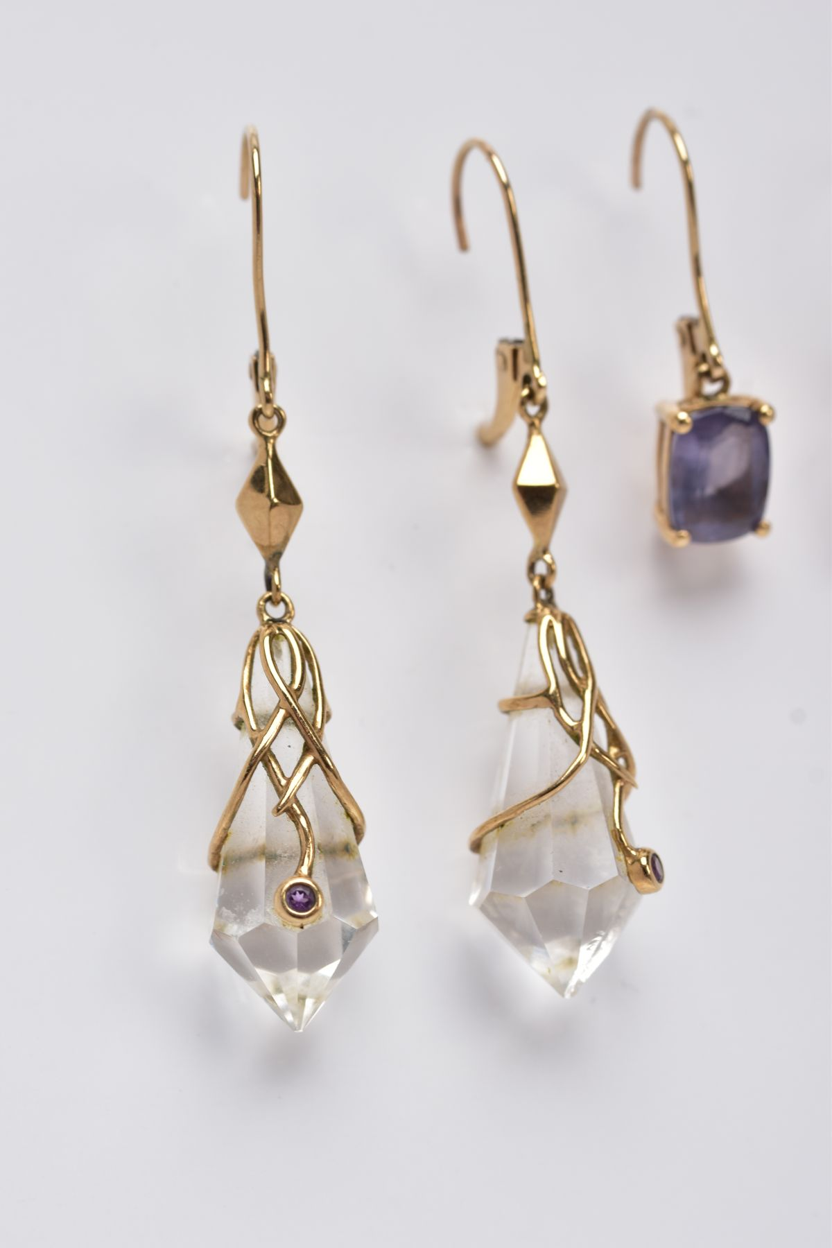 TWO PAIRS OF YELLOW METAL GEMSET DROP EARRINGS, the first pair suspending claw set, oval cut - Image 3 of 4