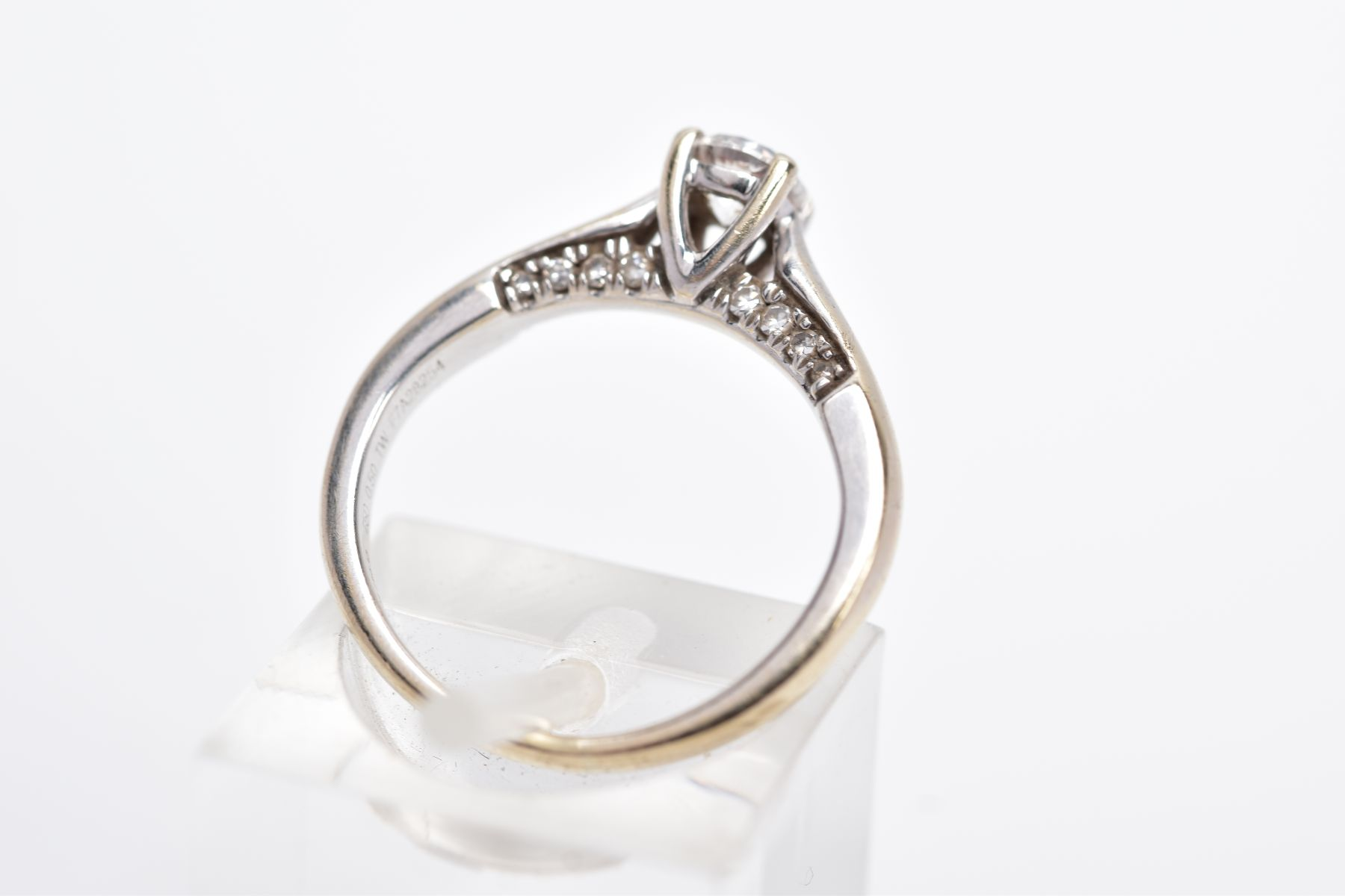 AN 18CT WHITE GOLD DIAMOND RING, designed with a central claw set, round brilliant cut diamond, - Image 3 of 4