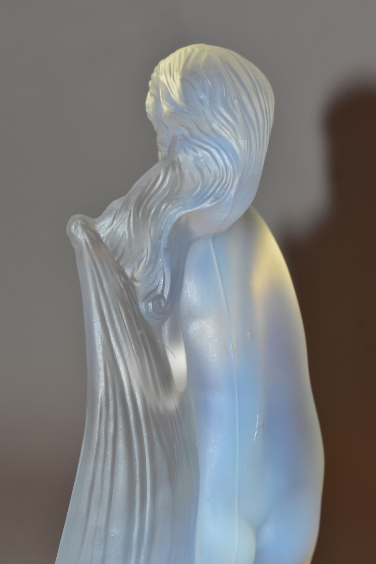 LUCILLE SEVIN - ETLING, an Art Deco style opalescent glass figure of a female nude with long flowing - Image 10 of 14