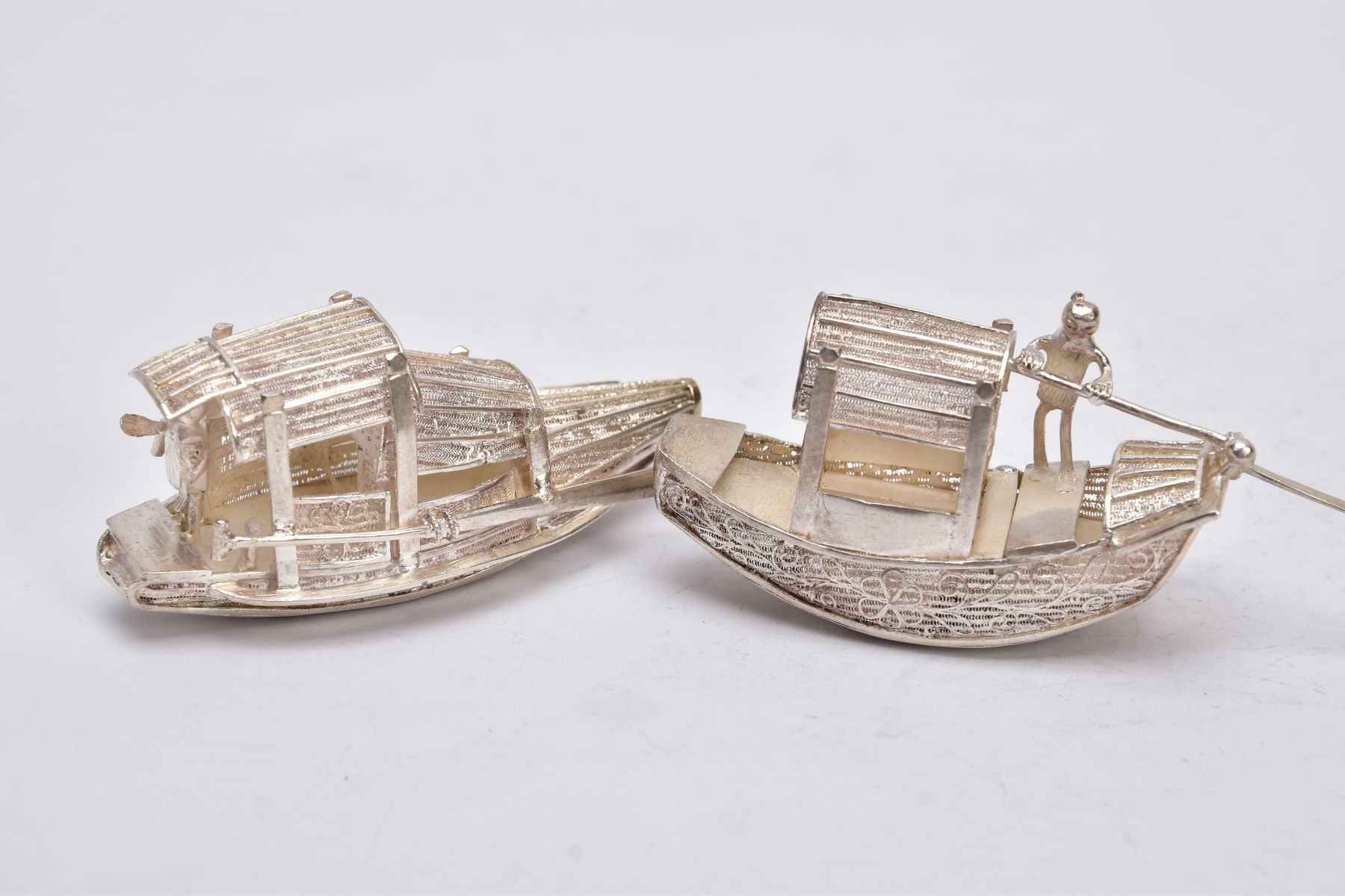 TWO MODERN ORIENTAL, WHITE METAL FILIGREE BOAT ORNAMENTS, one with a standing figure with paddle, - Image 2 of 8