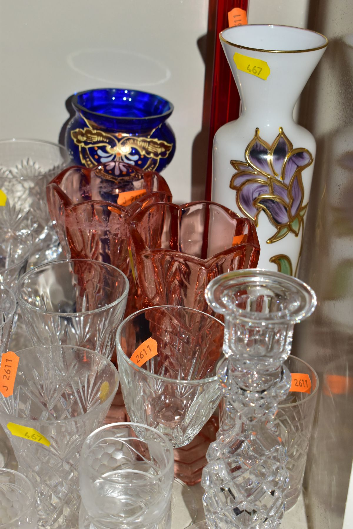 A GROUP OF CUT AND COLOURED GLASSWARES, to include a silver rimmed bowl, diameter 21cm, a Royal - Image 11 of 11